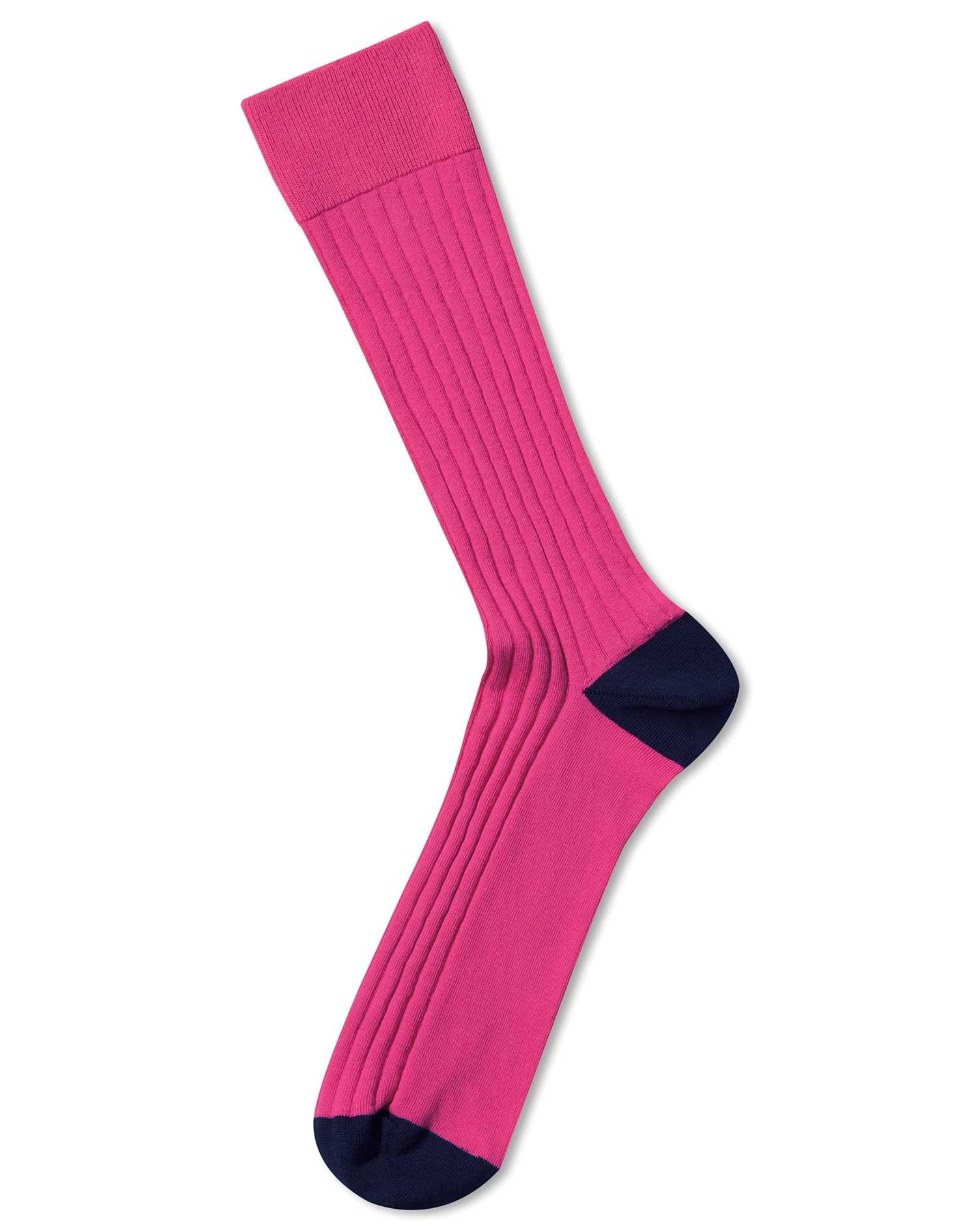 Pink Cotton Rib Socks Size Medium by Charles Tyrwhitt