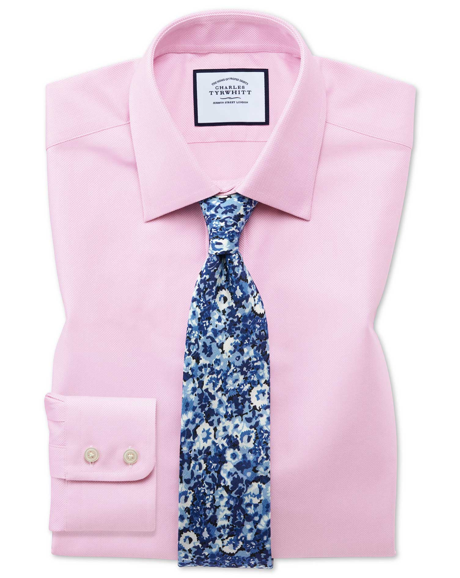 Classic Fit Egyptian Cotton Royal Oxford Pink Formal Shirt Double Cuff Size 15.5/33 by Charles Tyrwh