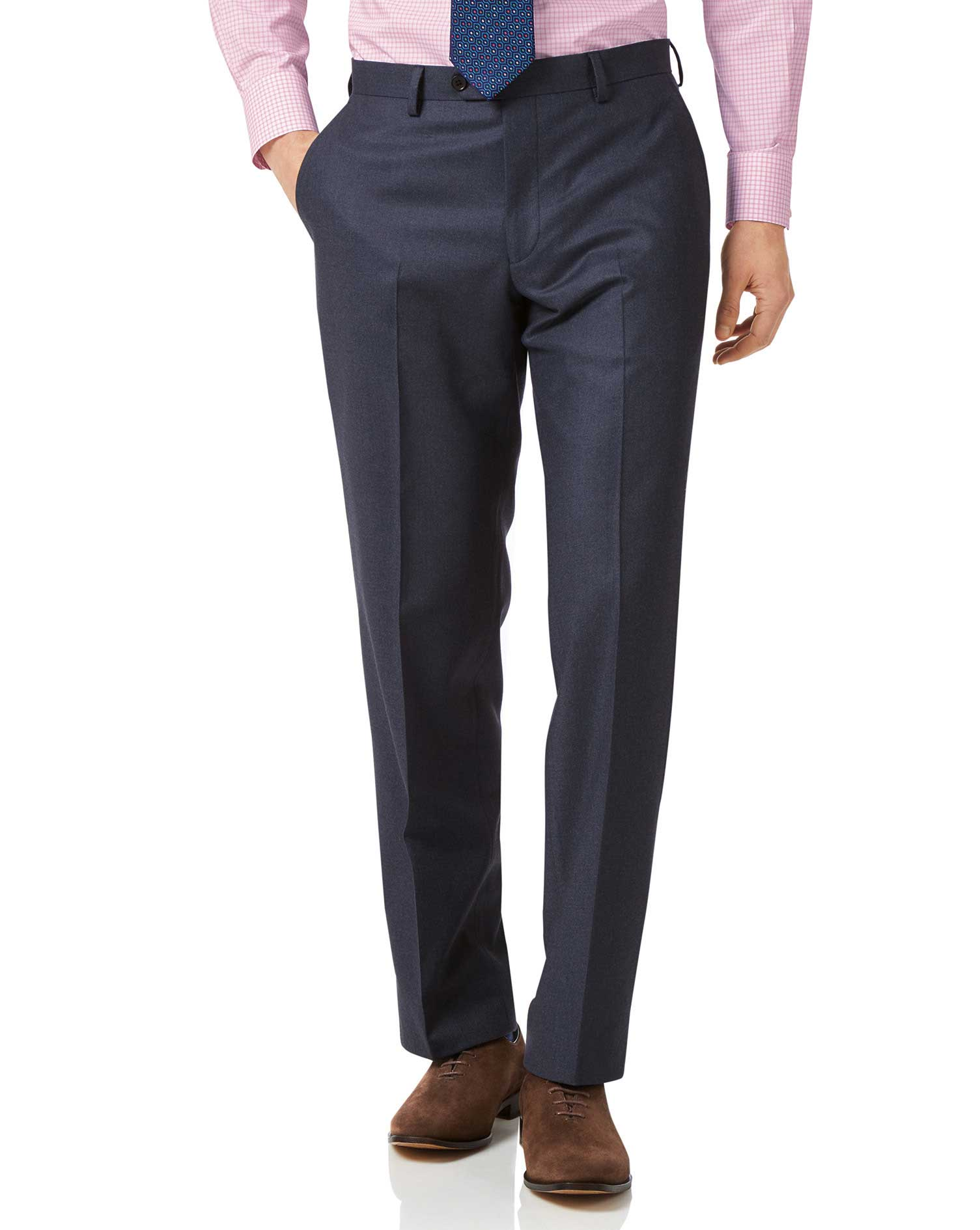 Airforce blue classic fit flannel business suit pants