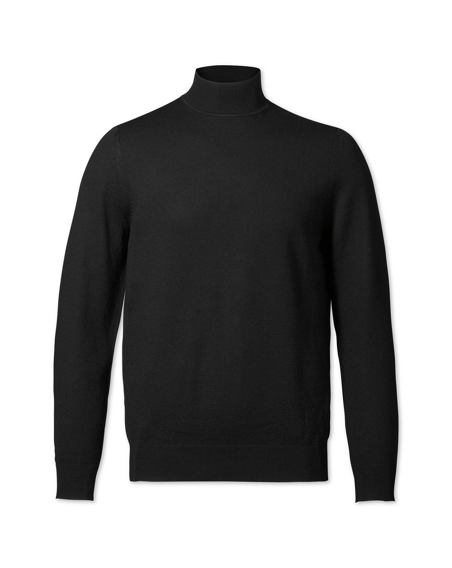 Black Turtleneck Merino Wool Jumper Size Small by Charles Tyrwhitt