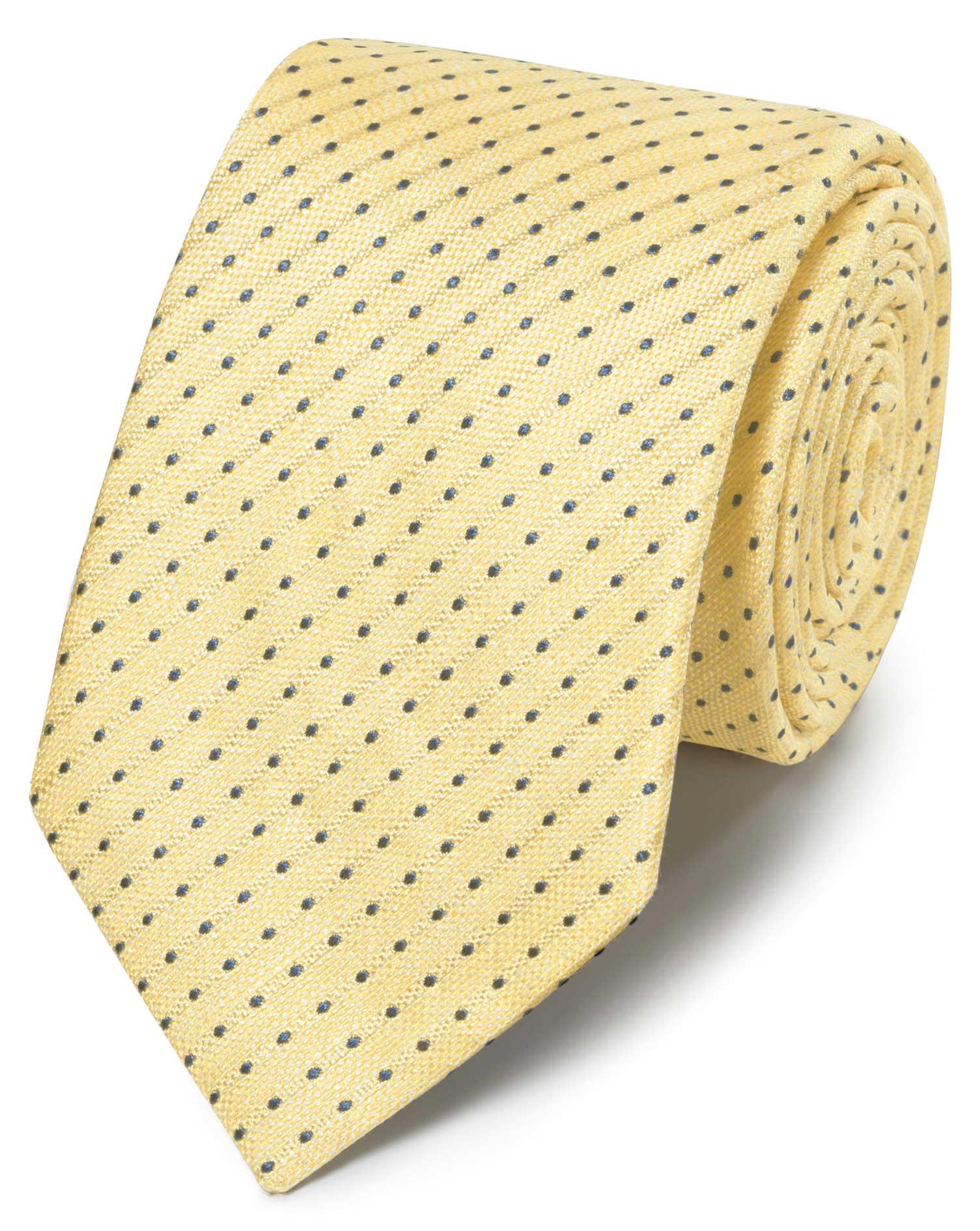 Klassische Krawatte Leinen/Seide mit Punkten in Gelb