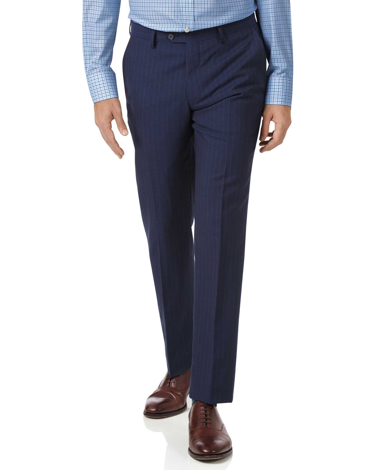 Pantalon de costume business bleu marine en Panama slim fit à rayures
