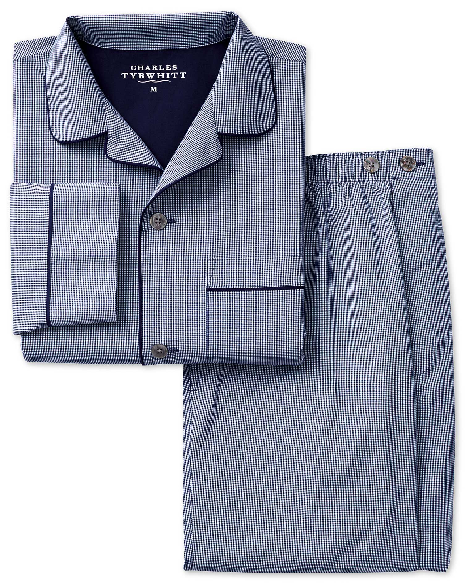 Navy Micro Gingham Cotton Pyjama Set Size Medium by Charles Tyrwhitt