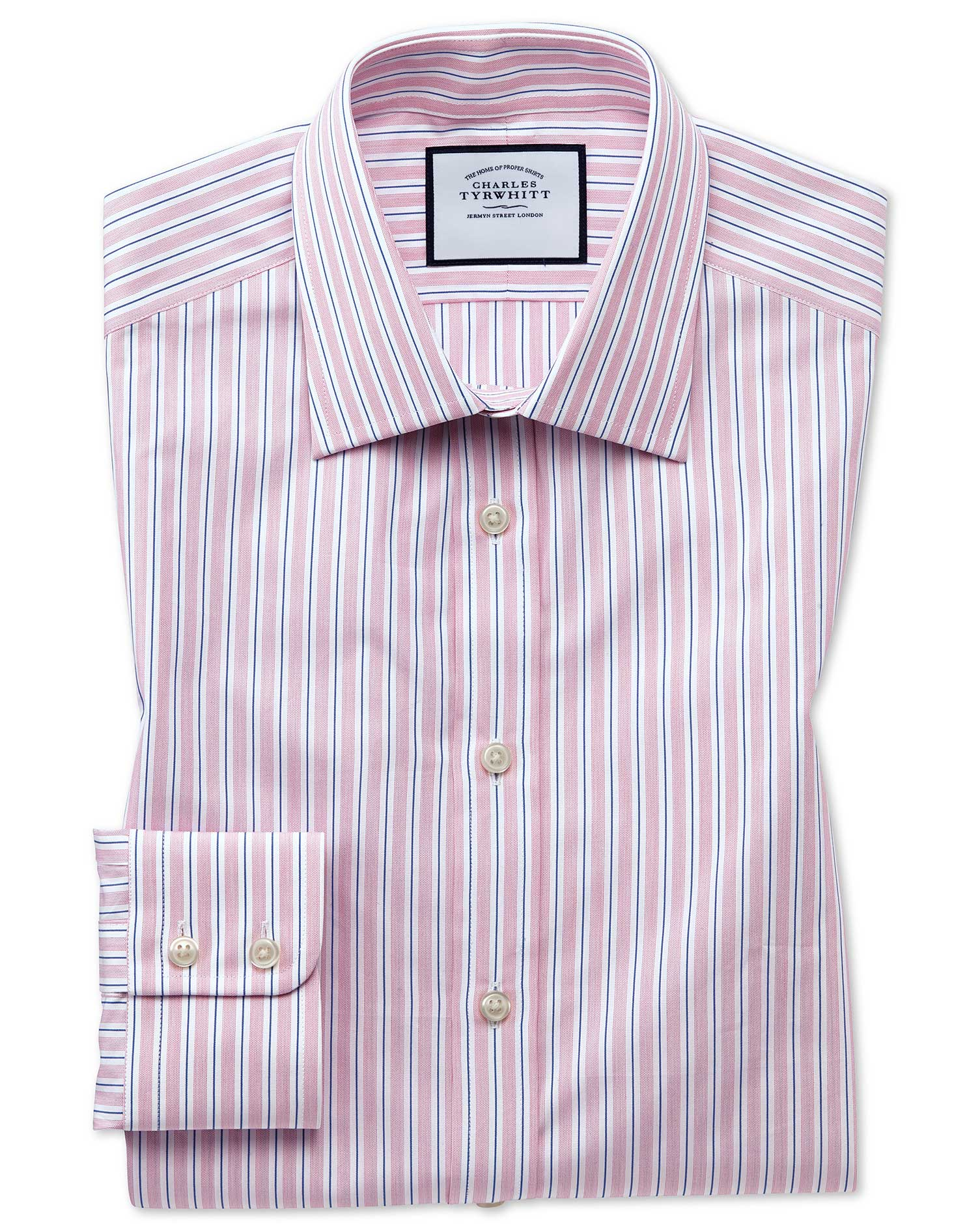 Classic Fit Egyptian Cotton Poplin Pink Stripe Formal Shirt Single Cuff Size 16/34 by Charles Tyrwhi