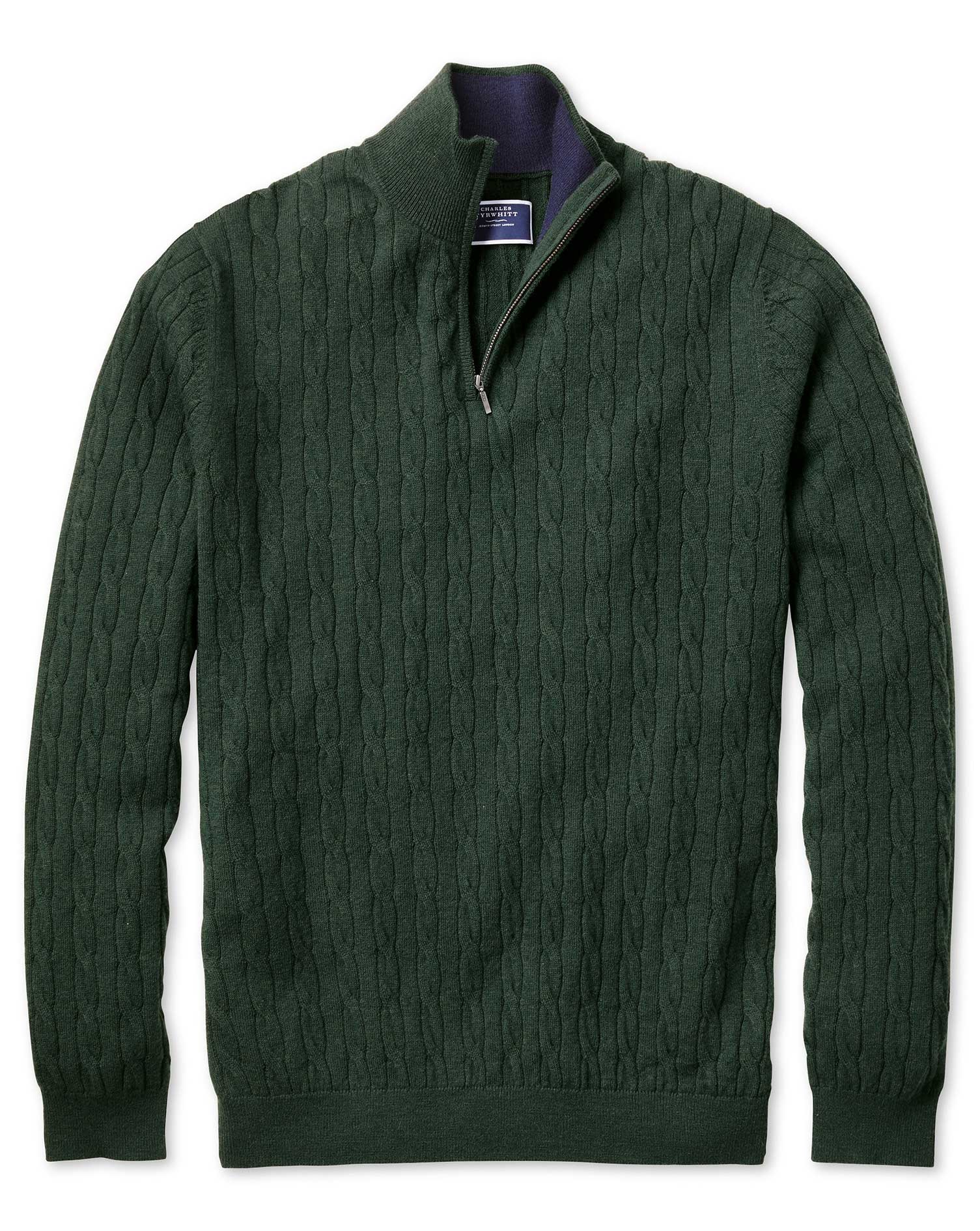 Green Zip Neck Lambswool Cable Knit Jumper Size Medium by Charles Tyrwhitt