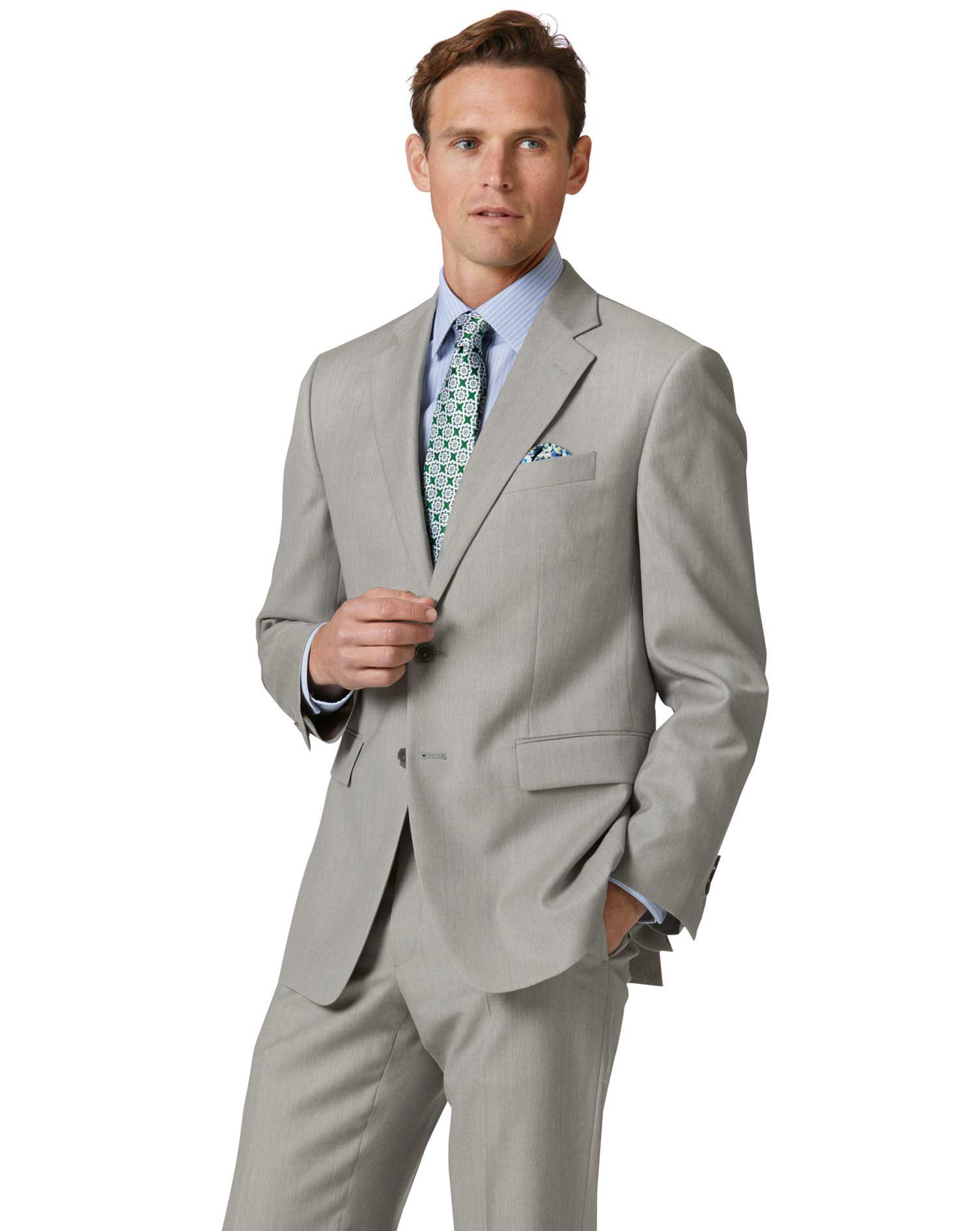 Light Grey Classic Fit Twill Business Suit Wool Jacket Size 44 Short by Charles Tyrwhitt