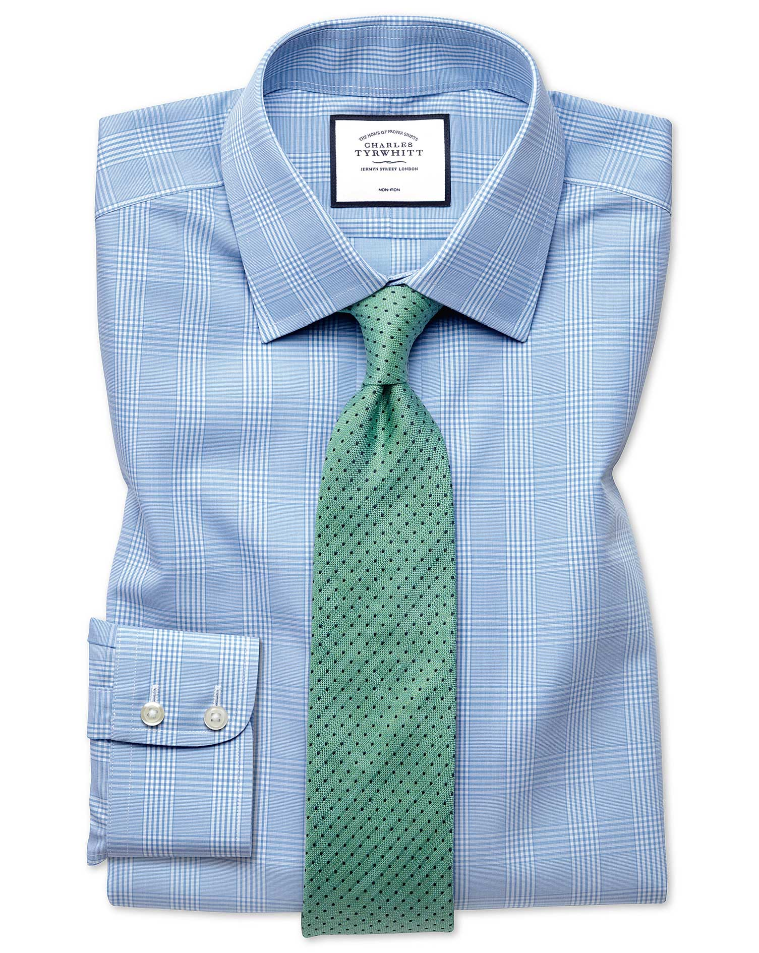 Slim Fit Non-Iron Prince Of Wales Sky Blue Cotton Formal Shirt Single Cuff Size 15.5/34 by Charles T