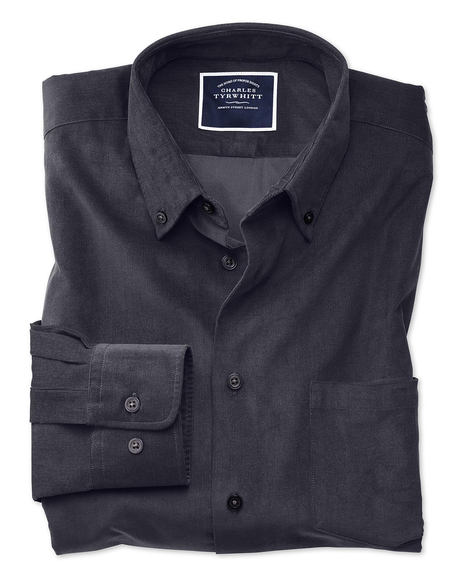 Extra Slim Fit Plain Charcoal Fine Corduroy Cotton Shirt Single Cuff Size XXL by Charles Tyrwhitt