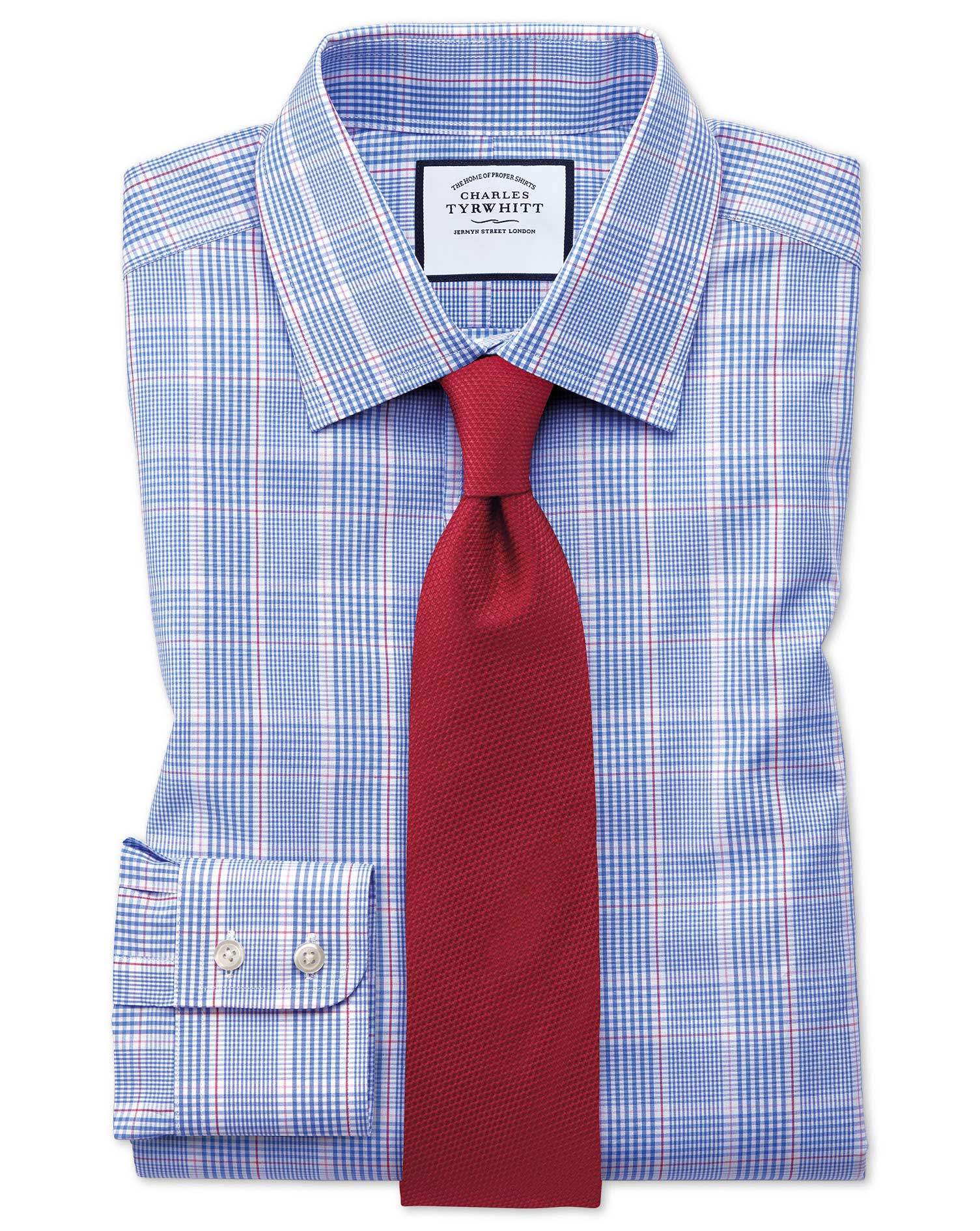 Classic Fit Prince Of Wales Check Blue and Pink Cotton Formal Shirt Single Cuff Size 16.5/34 by Char