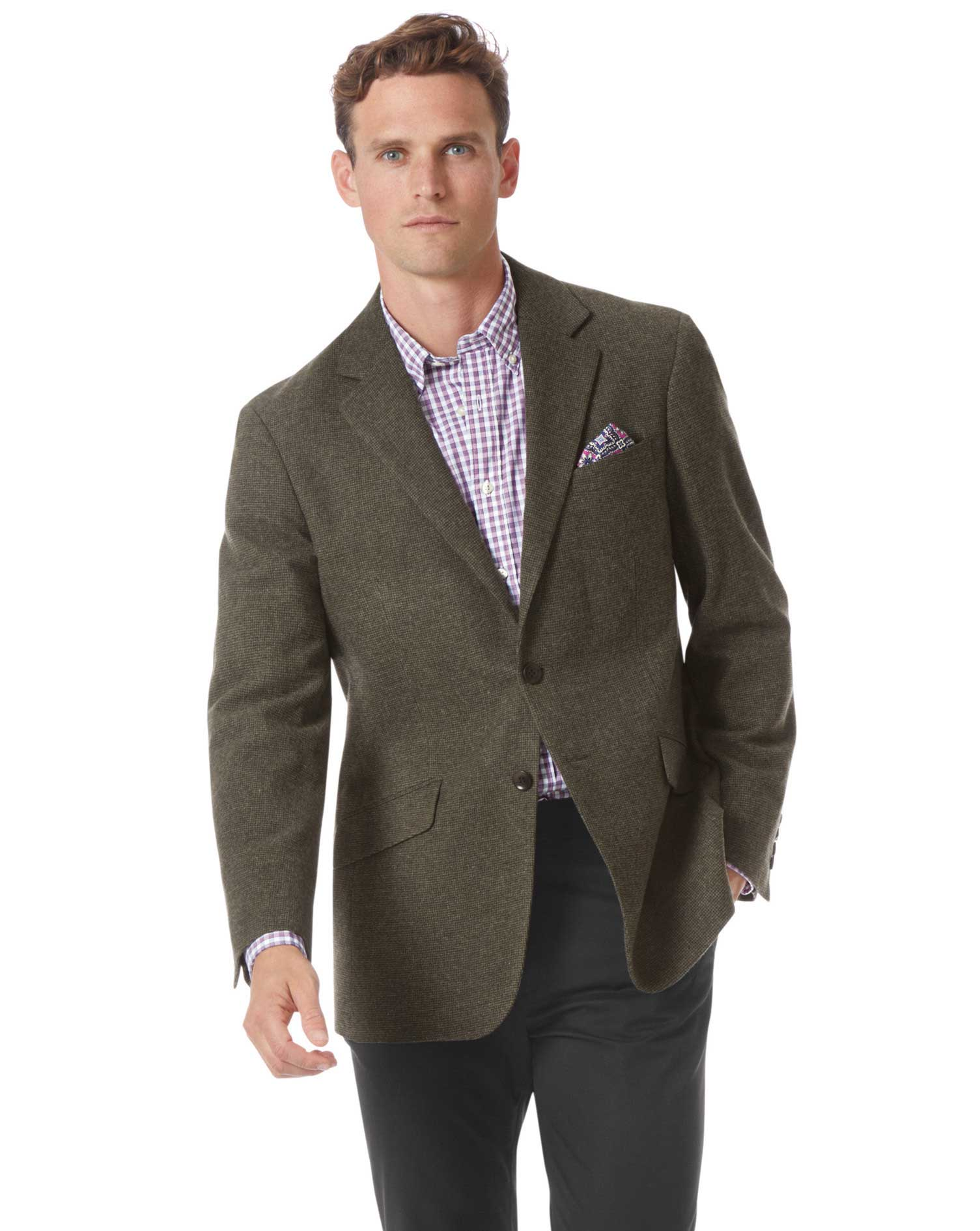 Classic Fit Green Wool Jacket Size 44 Regular by Charles Tyrwhitt
