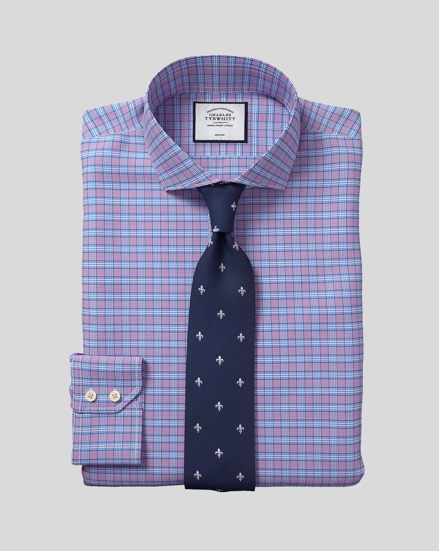 Cotton Cutaway Collar Non-Iron Prince Of Wales Check Shirt - Purple & Blue