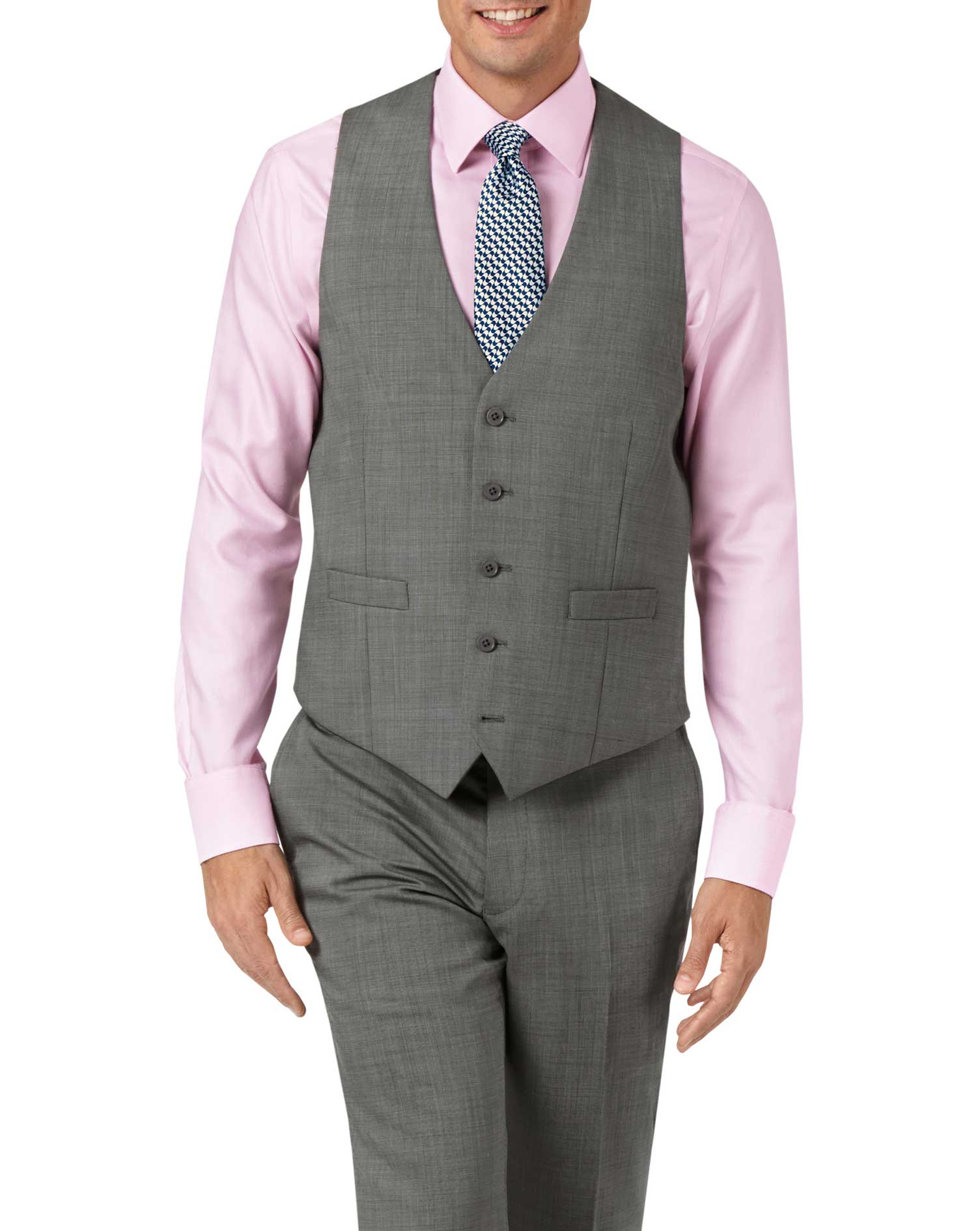 Silver adjustable fit step weave suit waistcoat