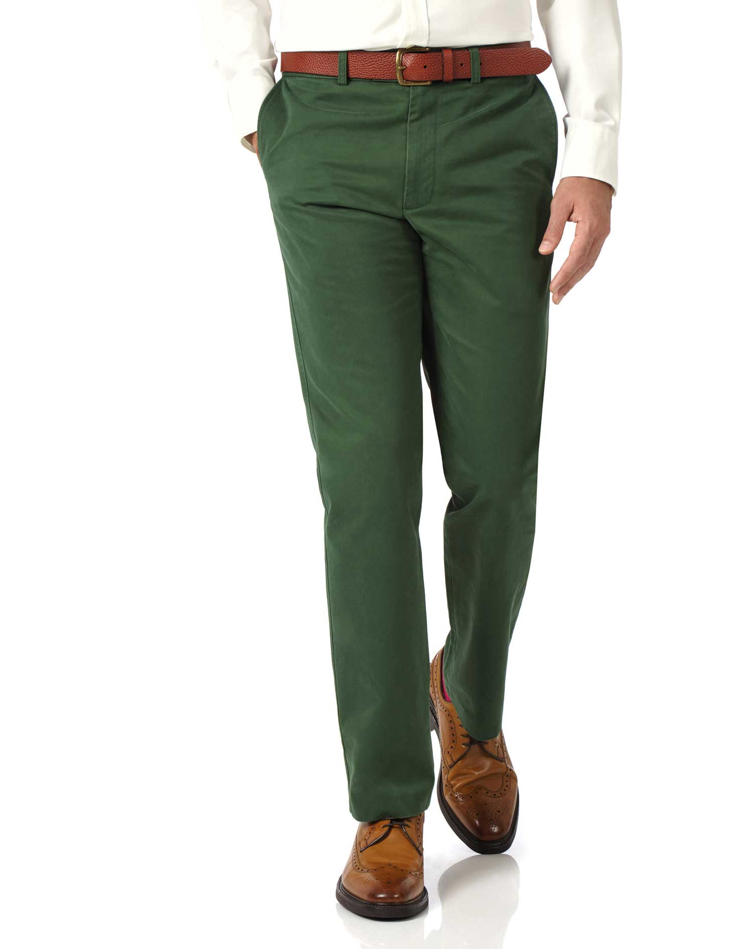 Green Slim Fit Flat Front Washed Cotton Chino Trousers Size W36 L32 by Charles Tyrwhitt