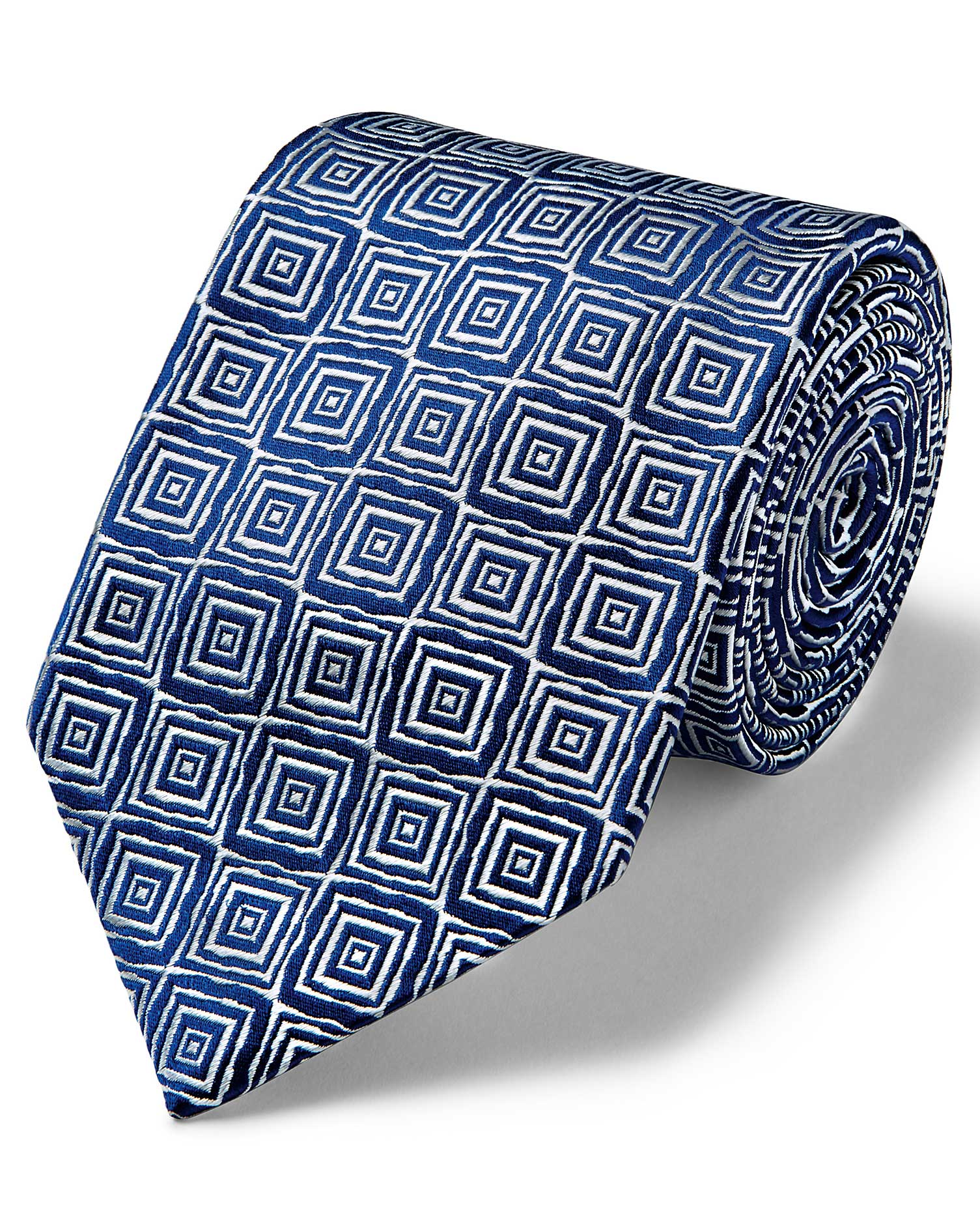 Silk Silver And Navy Square Geometric English Luxury Tie