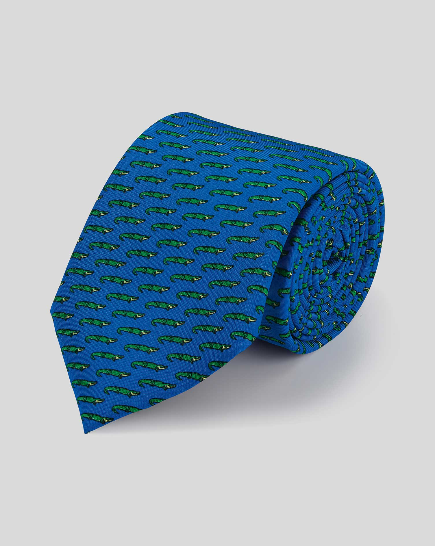 Image of Charles Tyrwhitt Alligator Silk Print Classic Tie - Royal Blue & Green by Charles Tyrwhitt