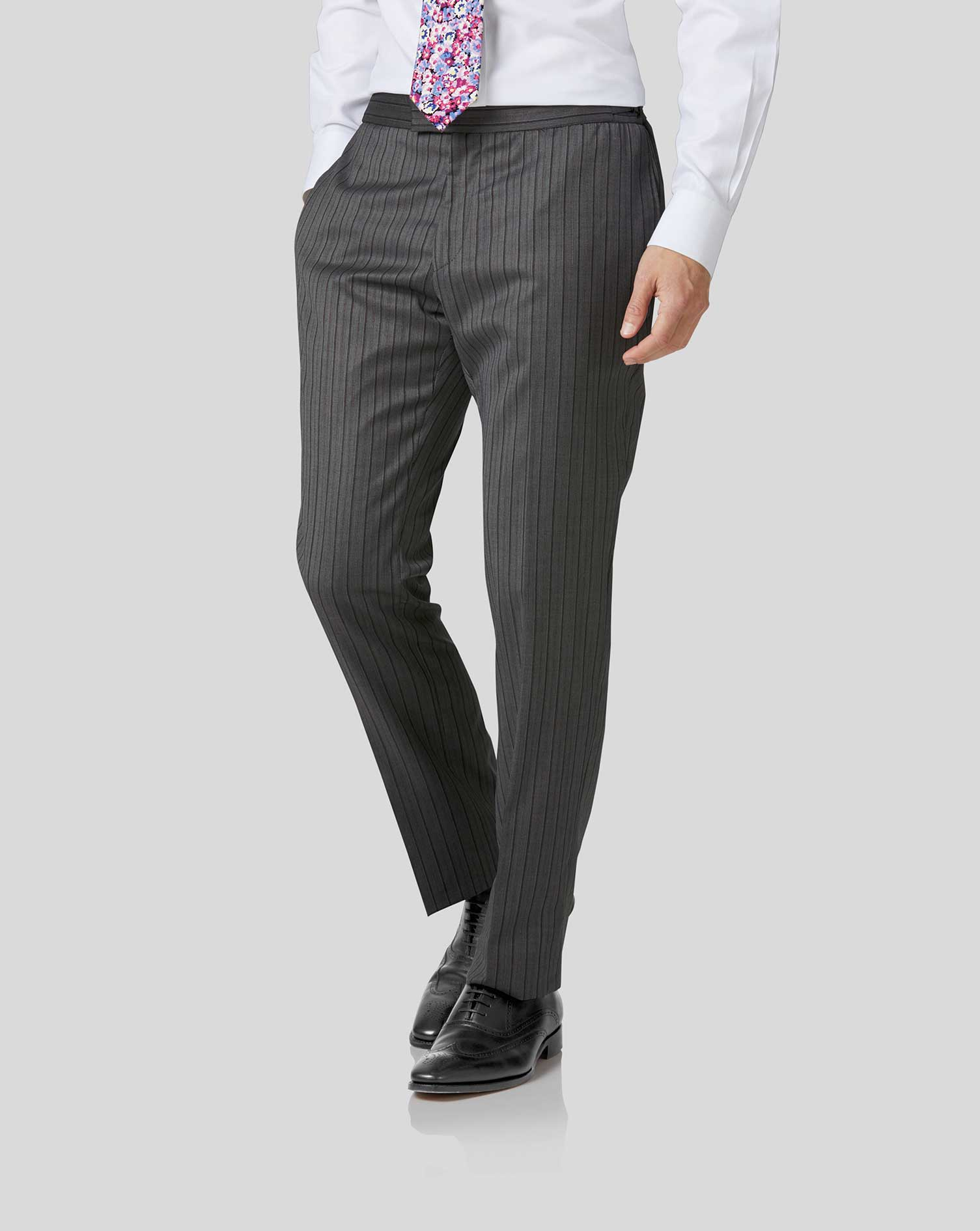 Wool Charcoal Stripe Slim Fit Morning Suit Trousers
