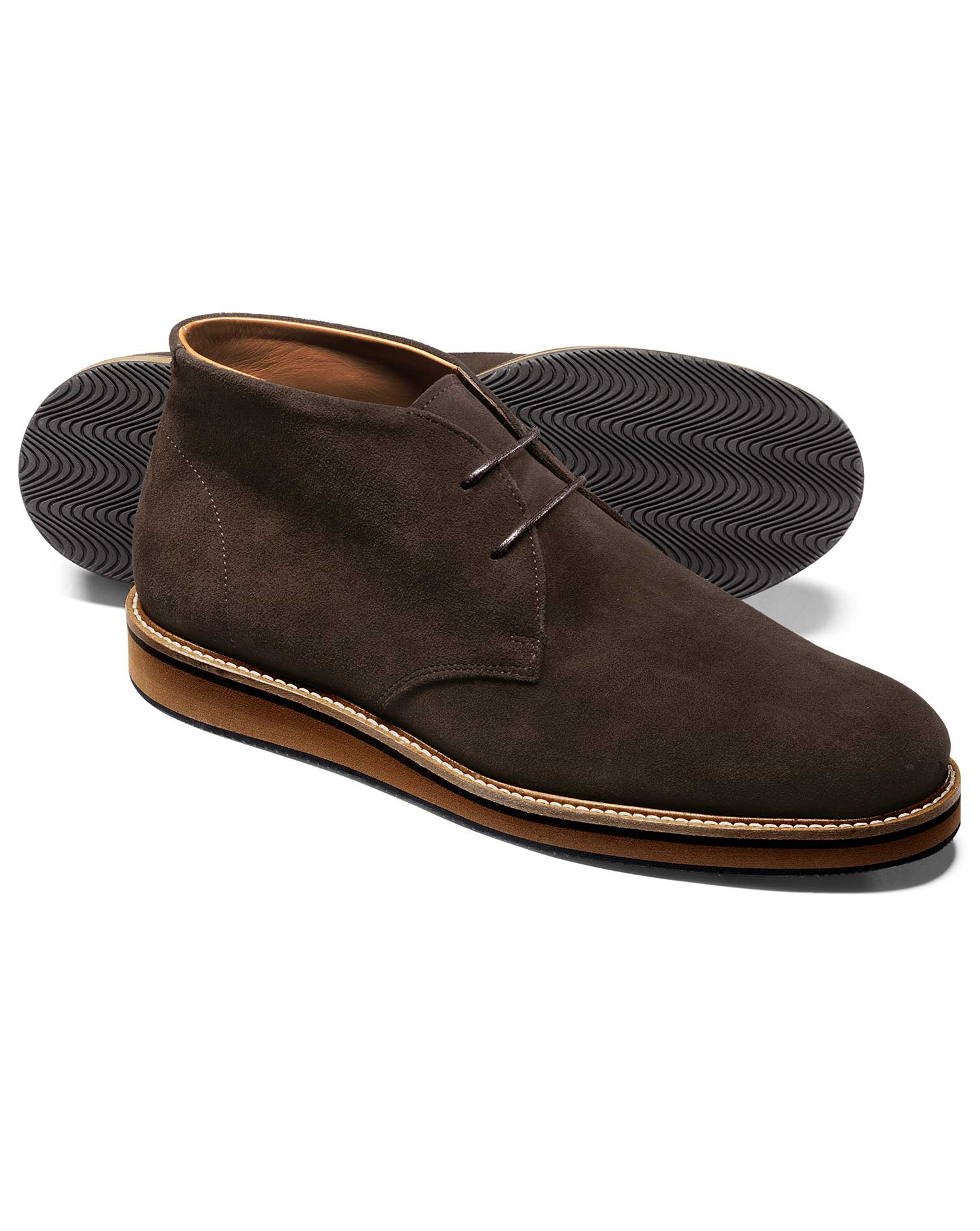 Chocolate Suede Lightweight Chukka Boot Size 6 R by Charles Tyrwhitt