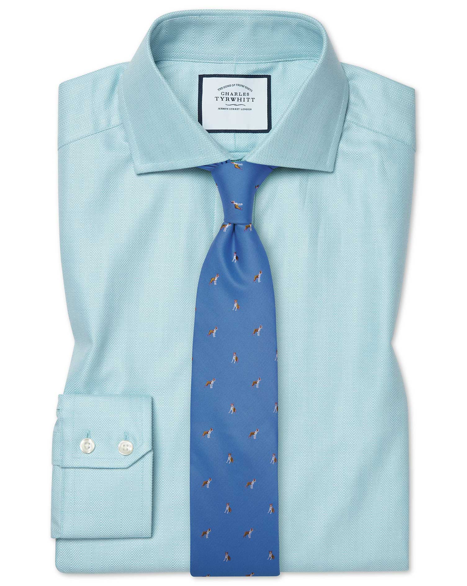 Cotton Tencel Slim Fit Cutaway Cotton Stretch With Tencel™ Teal Shirt