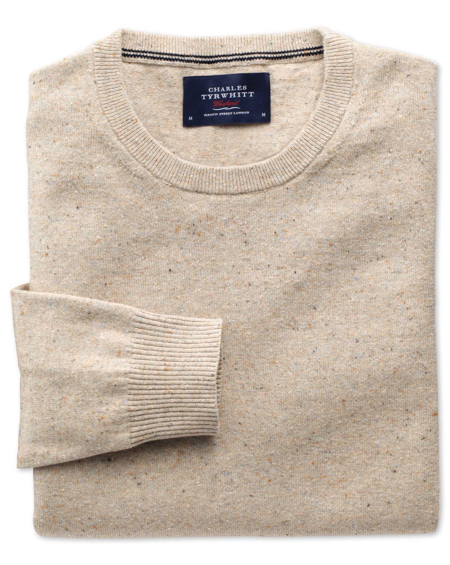 Stone Cotton Cashmere Crew Neck Jumper Size XXL by Charles Tyrwhitt