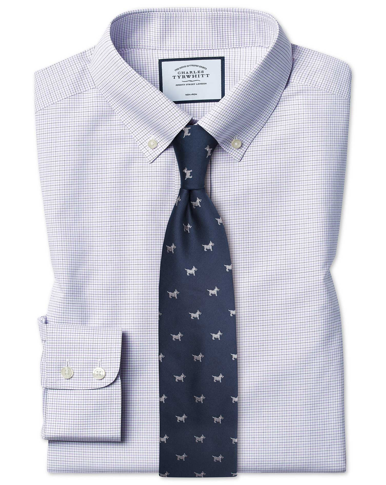 Cotton Slim Fit Non-Iron Button-Down Lilac And Blue Check Shirt