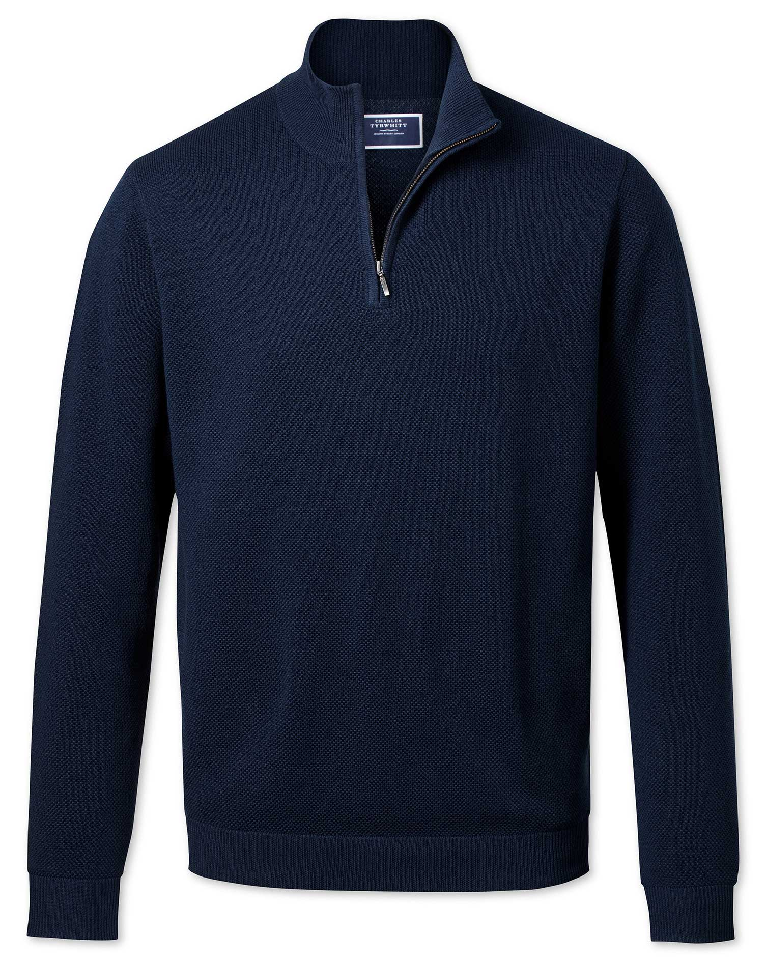 Navy Zip Neck Thermocool Wool Jumper Size XL by Charles Tyrwhitt