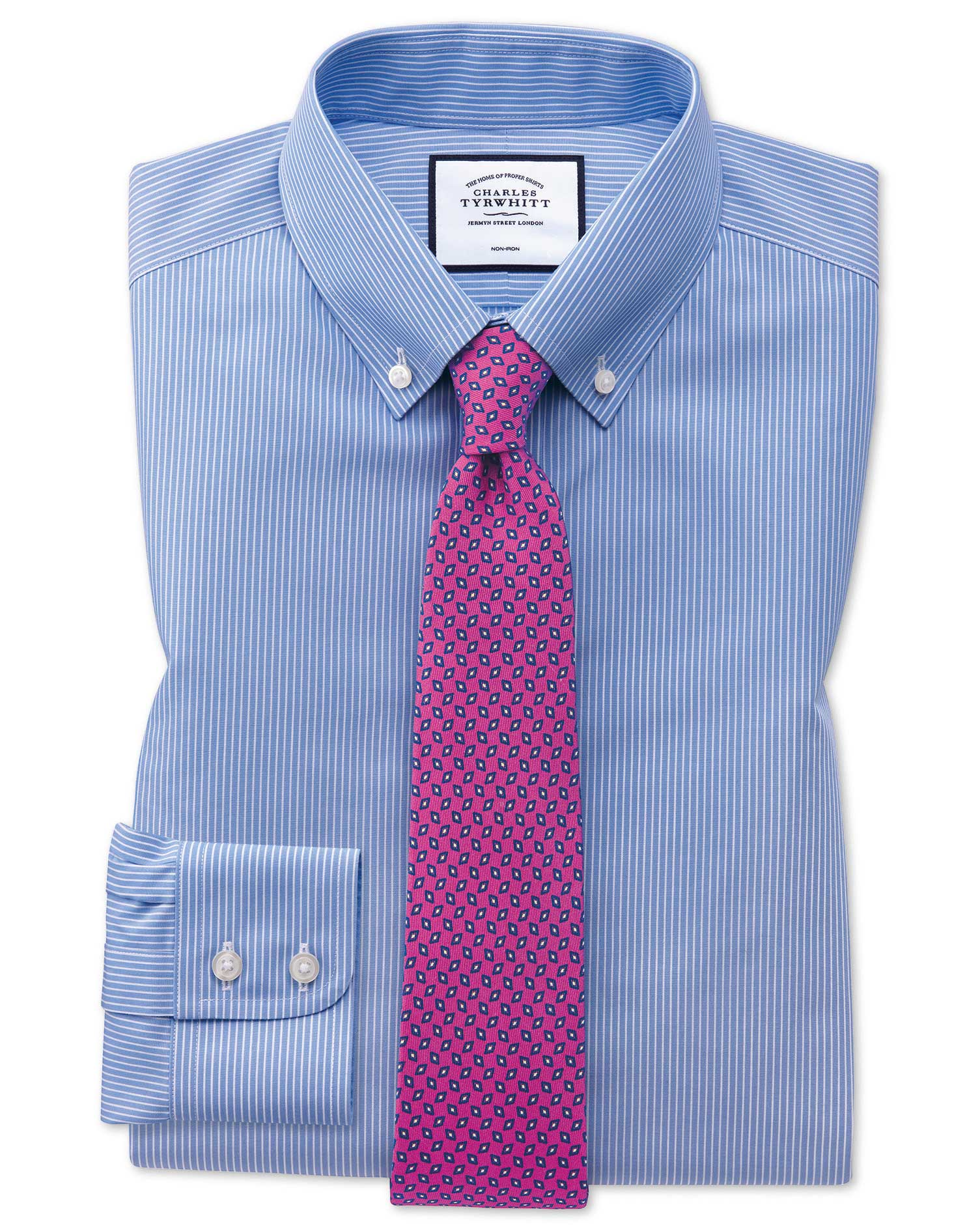 Extra Slim Fit Button-Down Non-Iron Blue and White Stripe Cotton Formal Shirt Single Cuff Size 16.5/