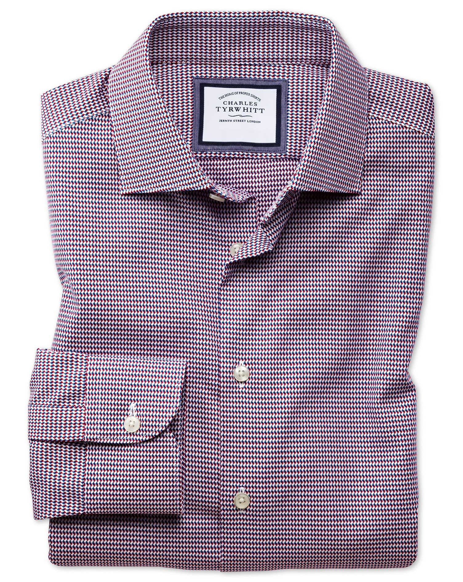 Slim Fit Semi-Cutaway Business Casual Non-Iron Modern Textures Red Multi Dogtooth Cotton Formal Shir