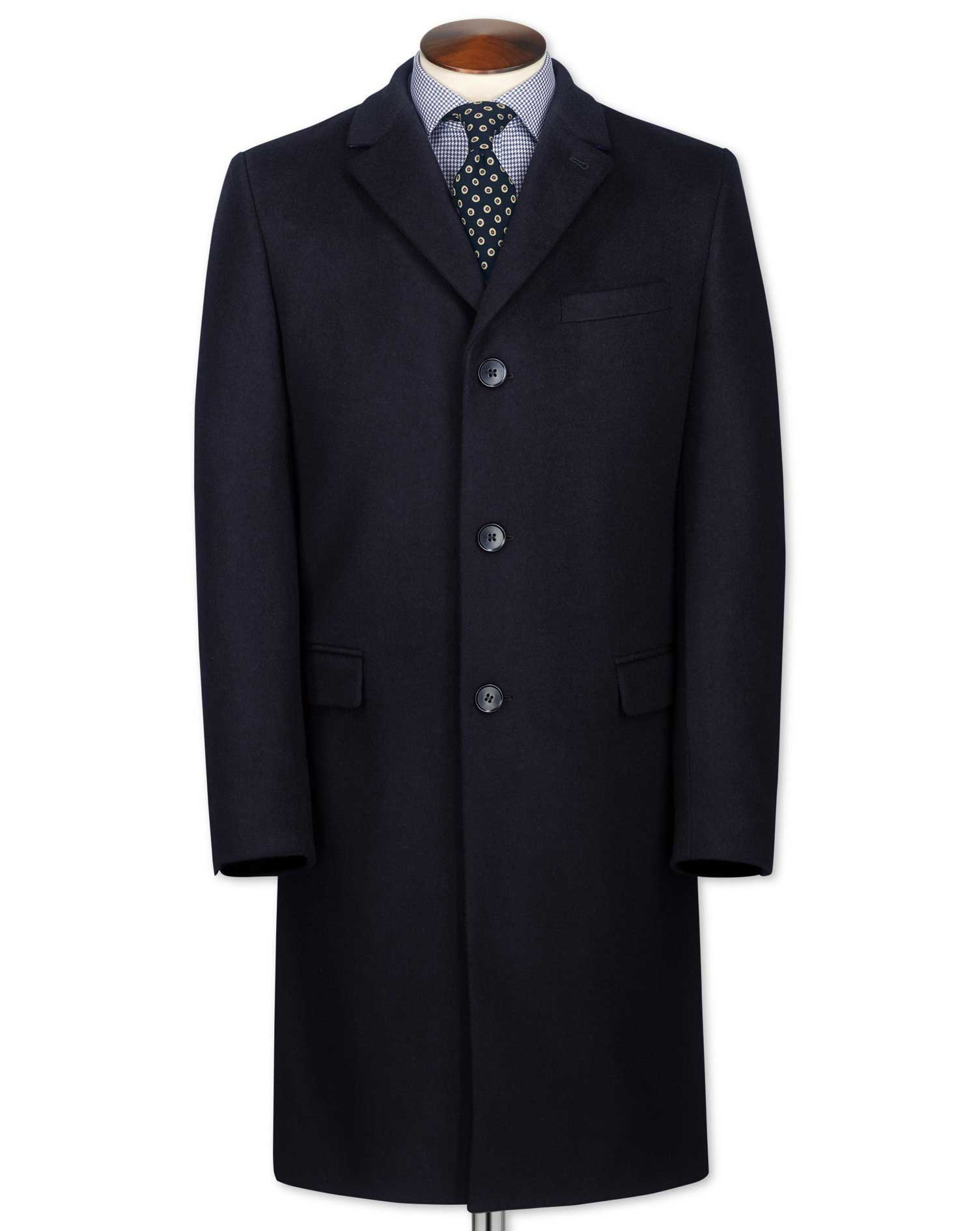 Classic fit navy wool and cashmere overcoat | Charles Tyrwhitt