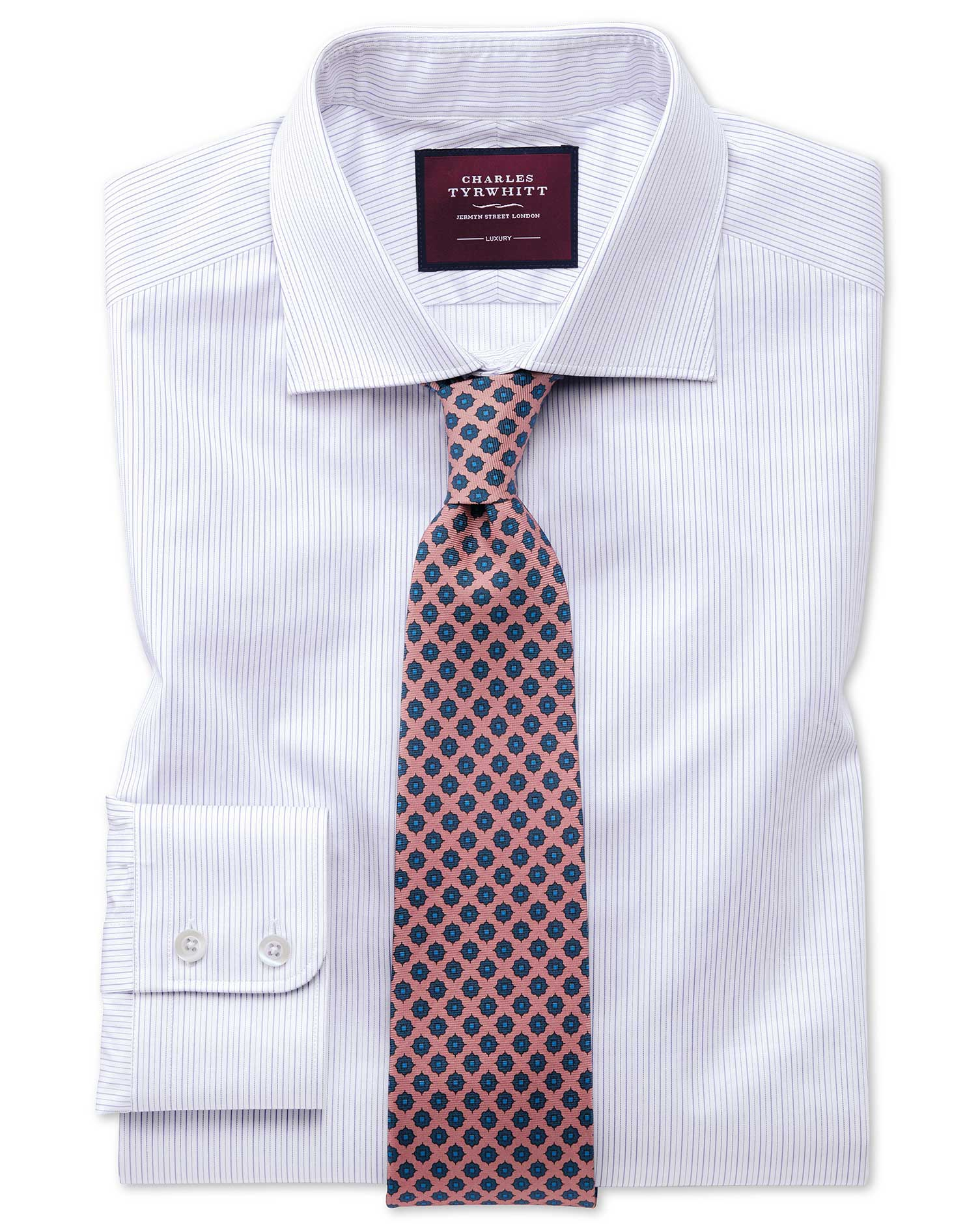 Cotton Classic Fit Luxury Fine Stripe Lilac Shirt
