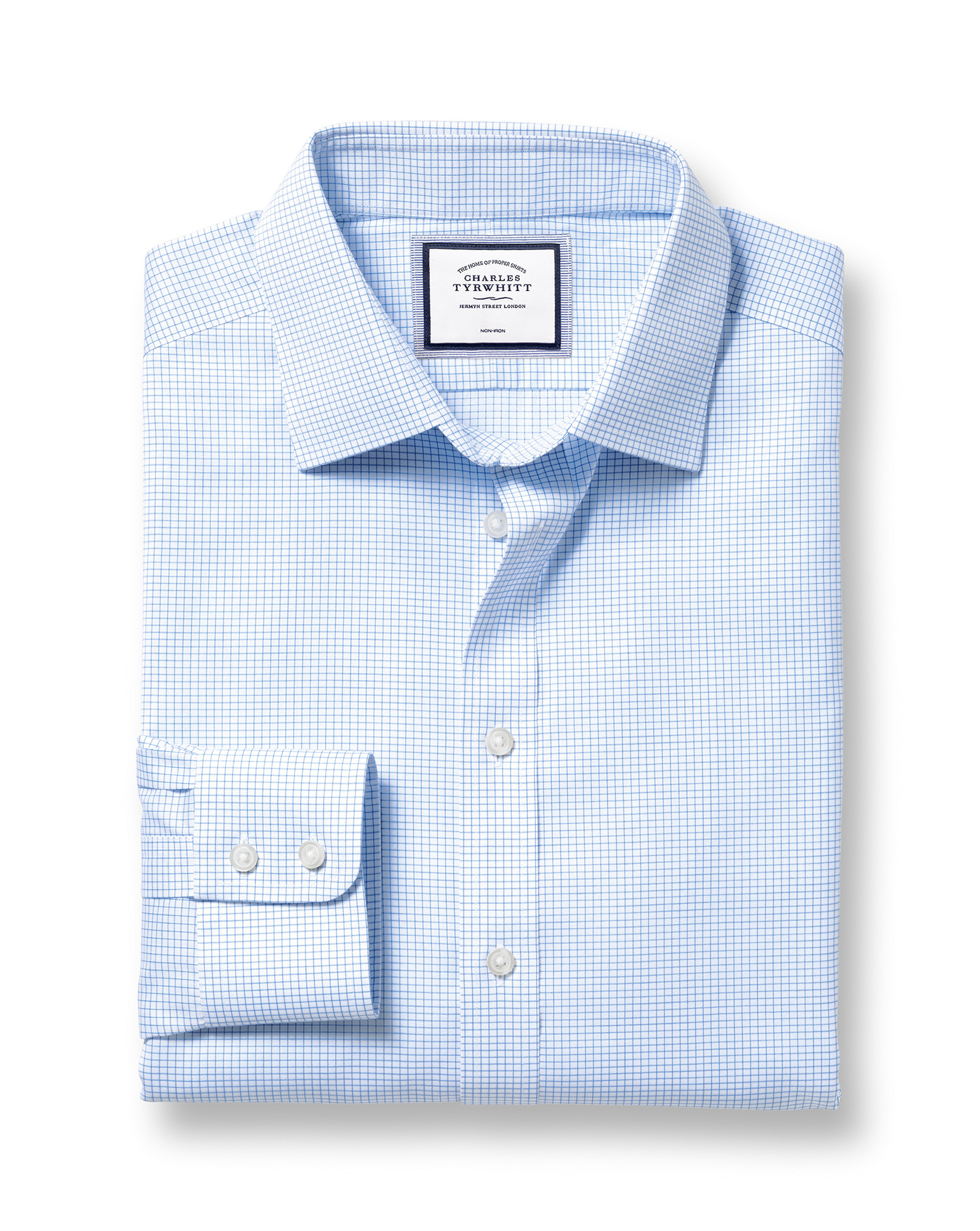 Slim Fit Non-Iron Sky Blue Mini Grid Check Twill Cotton Formal Shirt Double Cuff Size 16.5/34 by Cha
