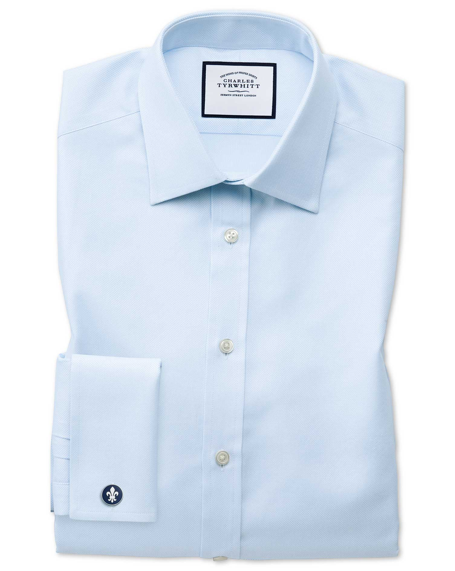 Slim Fit Egyptian Cotton Royal Oxford Sky Blue Formal Shirt Double Cuff Size 17.5/35 by Charles Tyrw