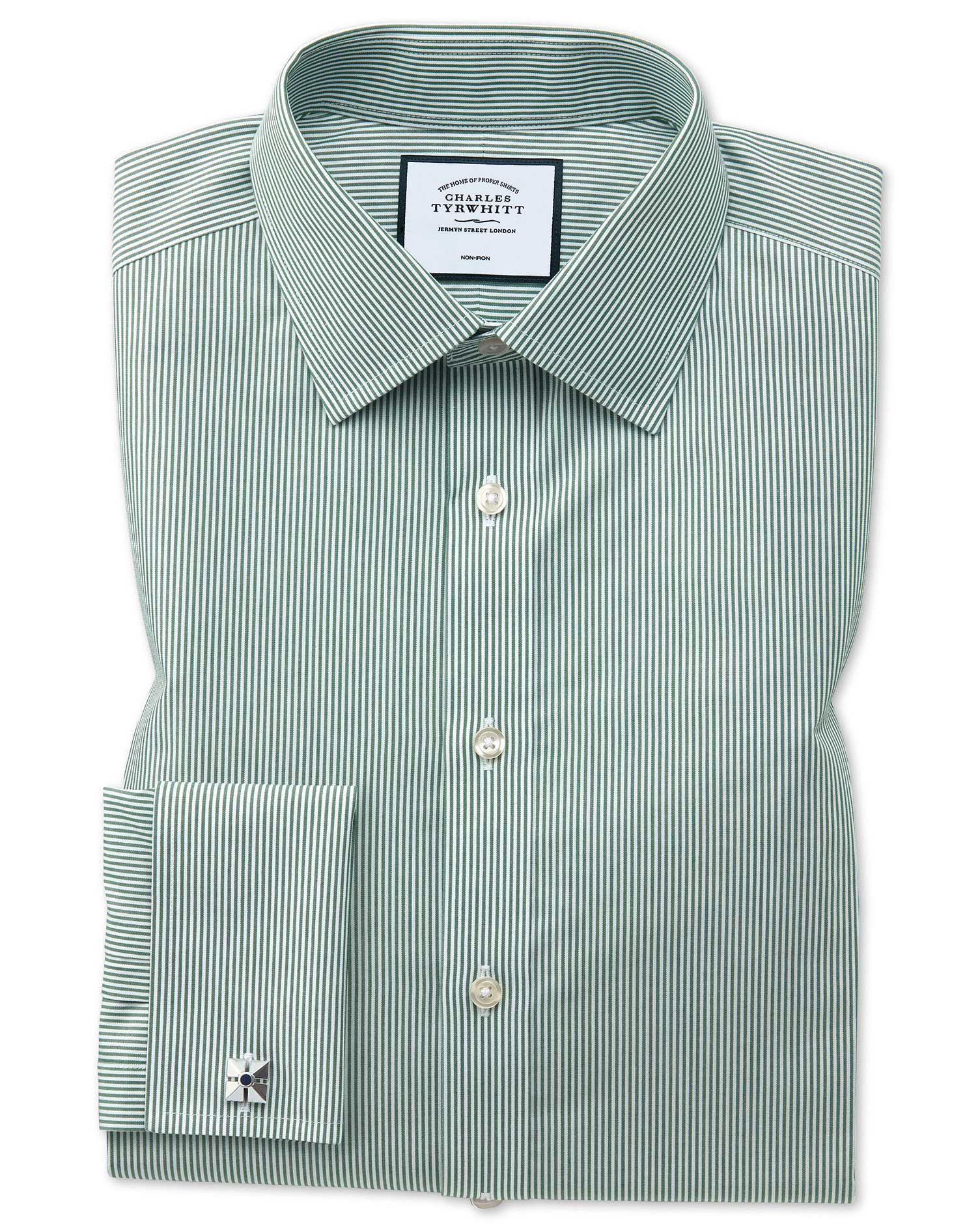 Slim Fit Non-Iron Olive Bengal Stripe Cotton Formal Shirt Double Cuff Size 16/33 by Charles Tyrwhitt