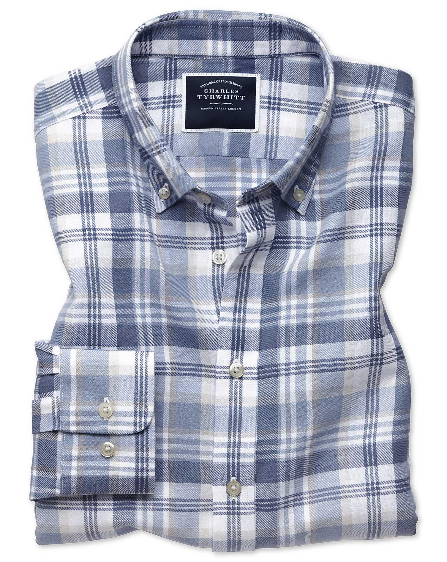 Classic Fit Blue and Grey Check Cotton Linen Twill Shirt Single Cuff Size Large by Charles Tyrwhitt