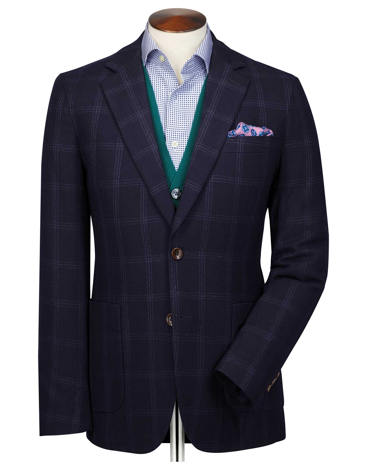 Slim Fit Navy and Blue Checkered Wool Flannel Wool Blazer Size 44 Regular by Charles Tyrwhitt
