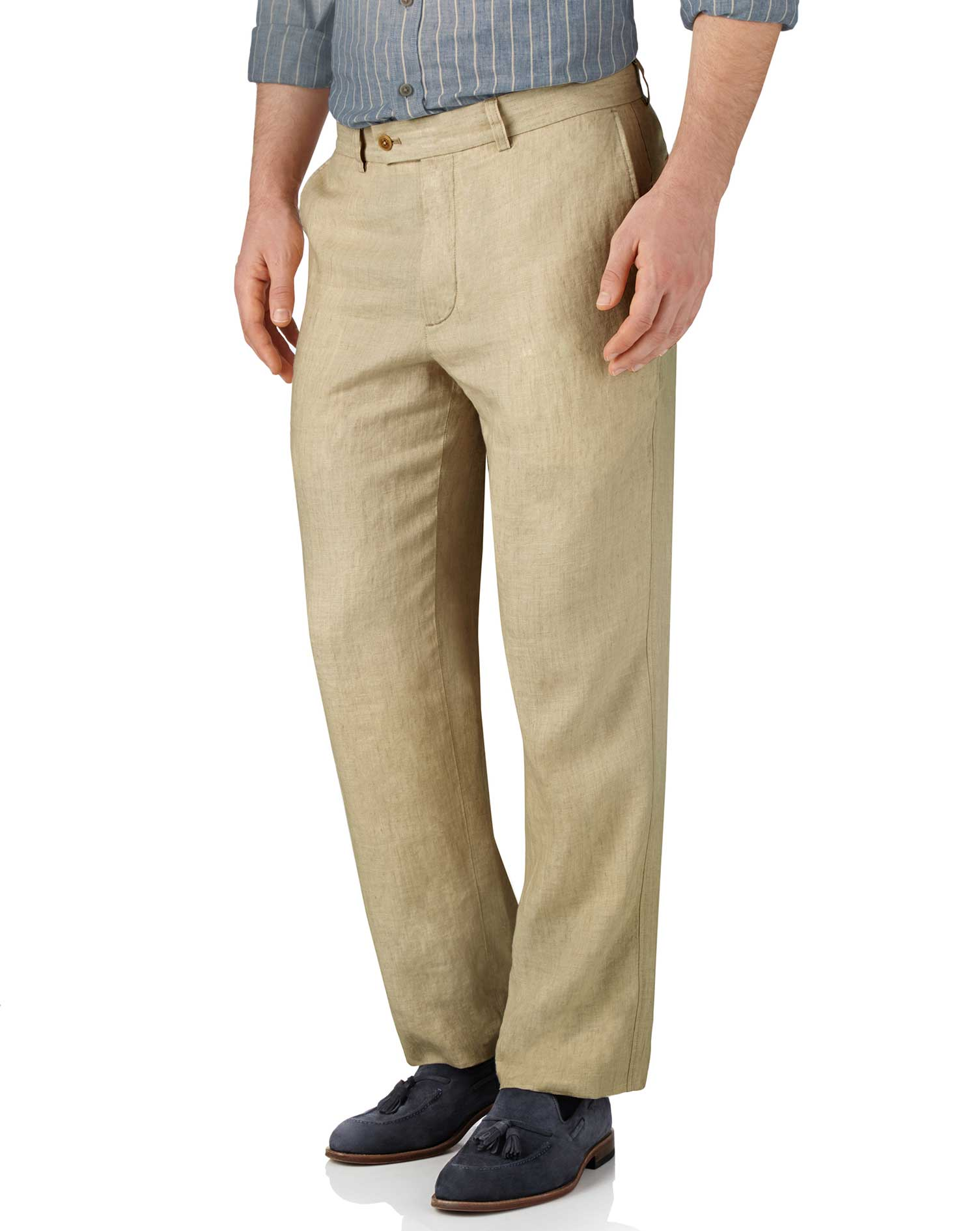 Stone Classic Fit Linen Trousers Size W40 L34 by Charles Tyrwhitt