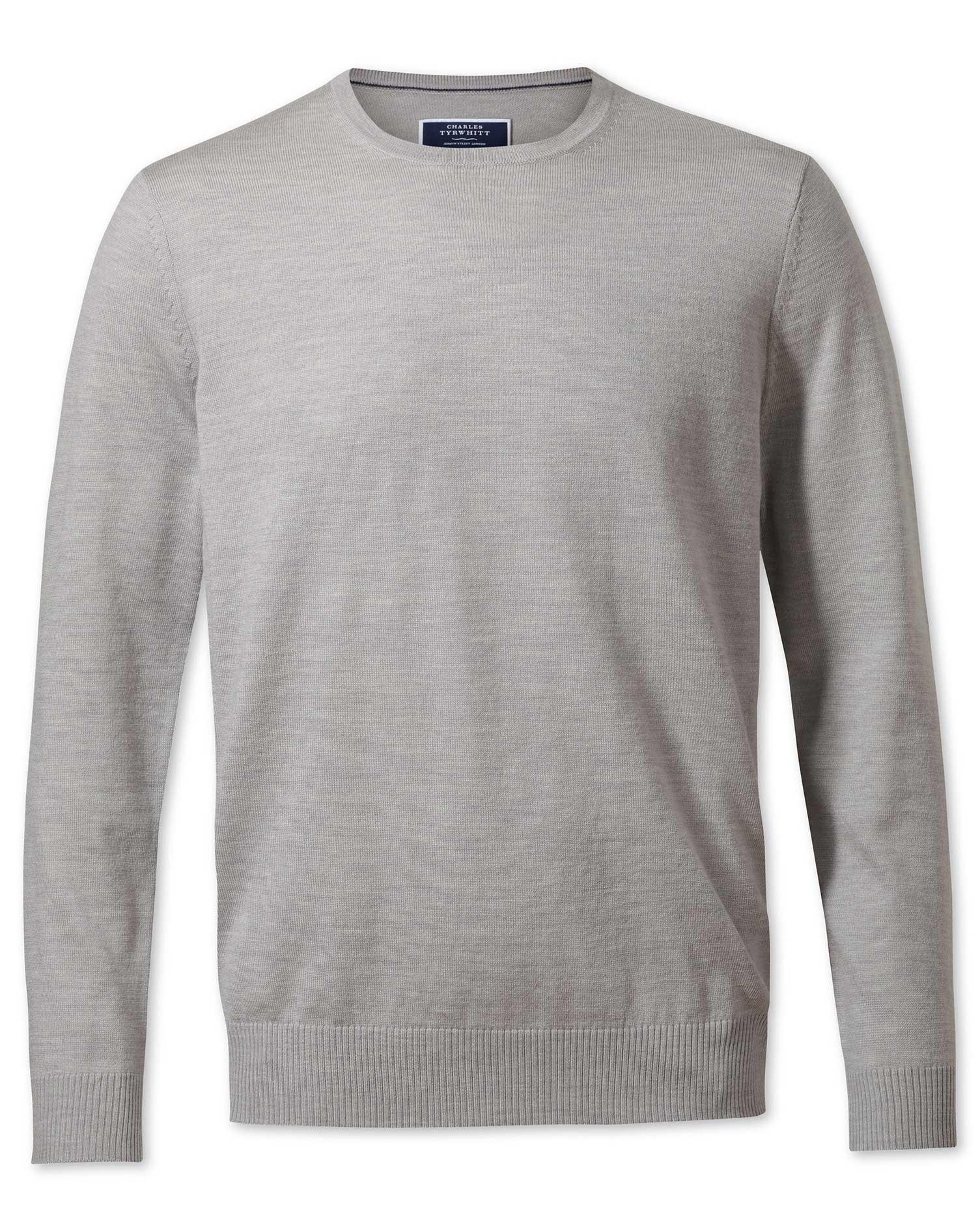 Silver Merino Wool Crew Neck Jumper Size XXL by Charles Tyrwhitt