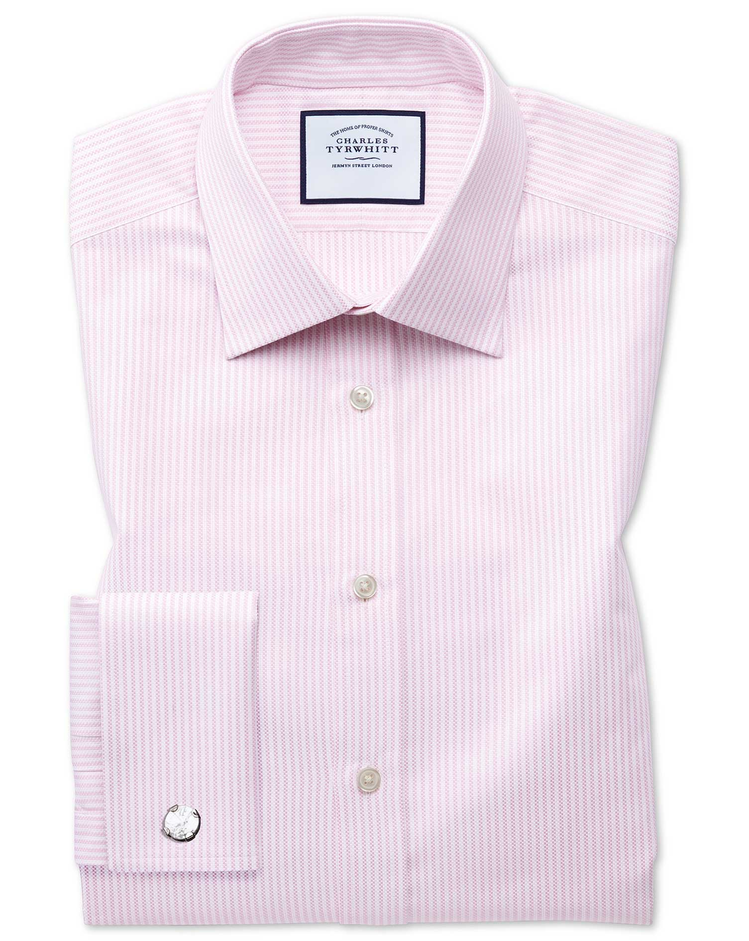 Slim Fit Egyptian Cotton Royal Oxford Pink and White Stripe Formal Shirt Double Cuff Size 15.5/34 by