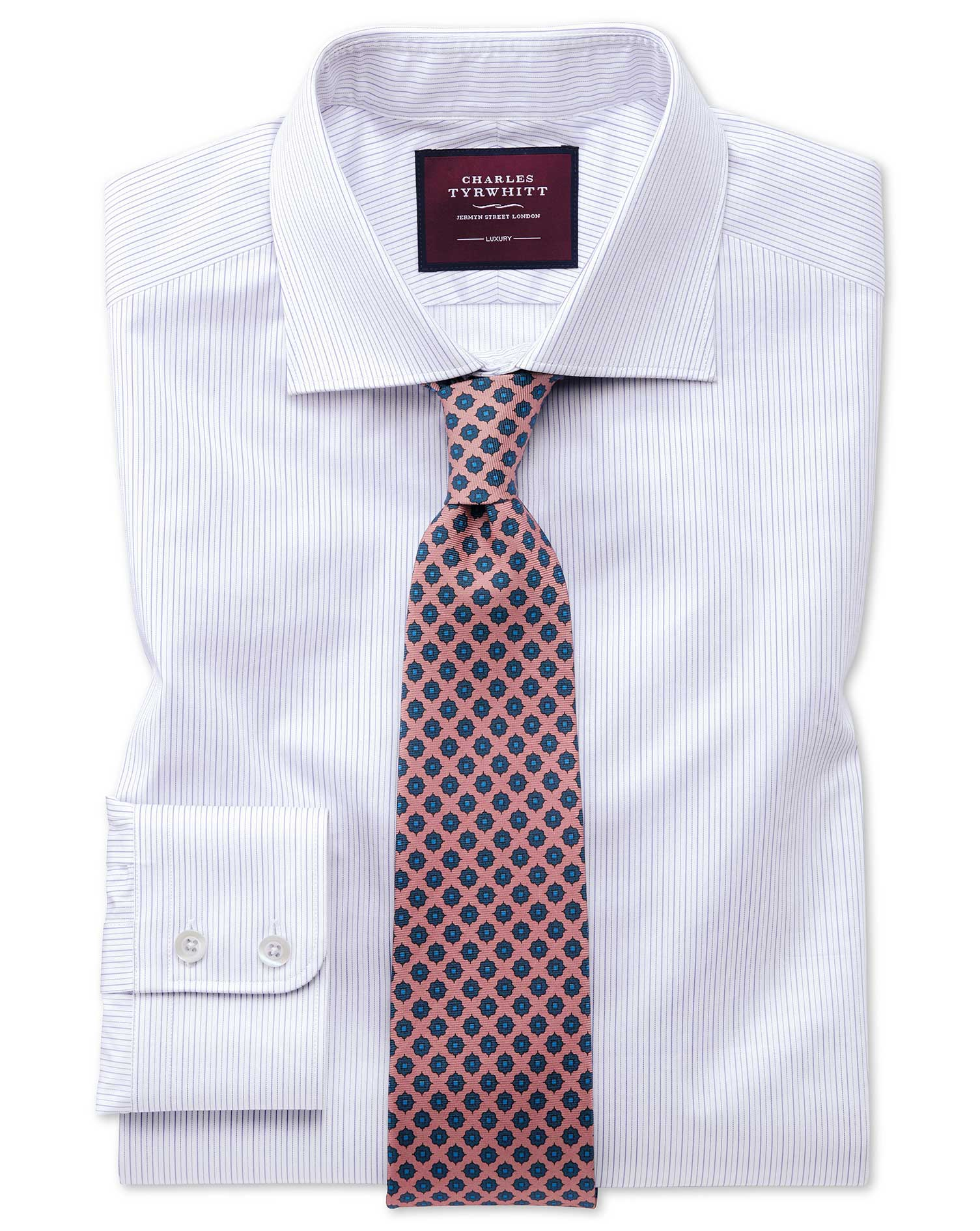 Chemise Luxe Lilas Slim Fit À Fines Rayures - 15 / 33