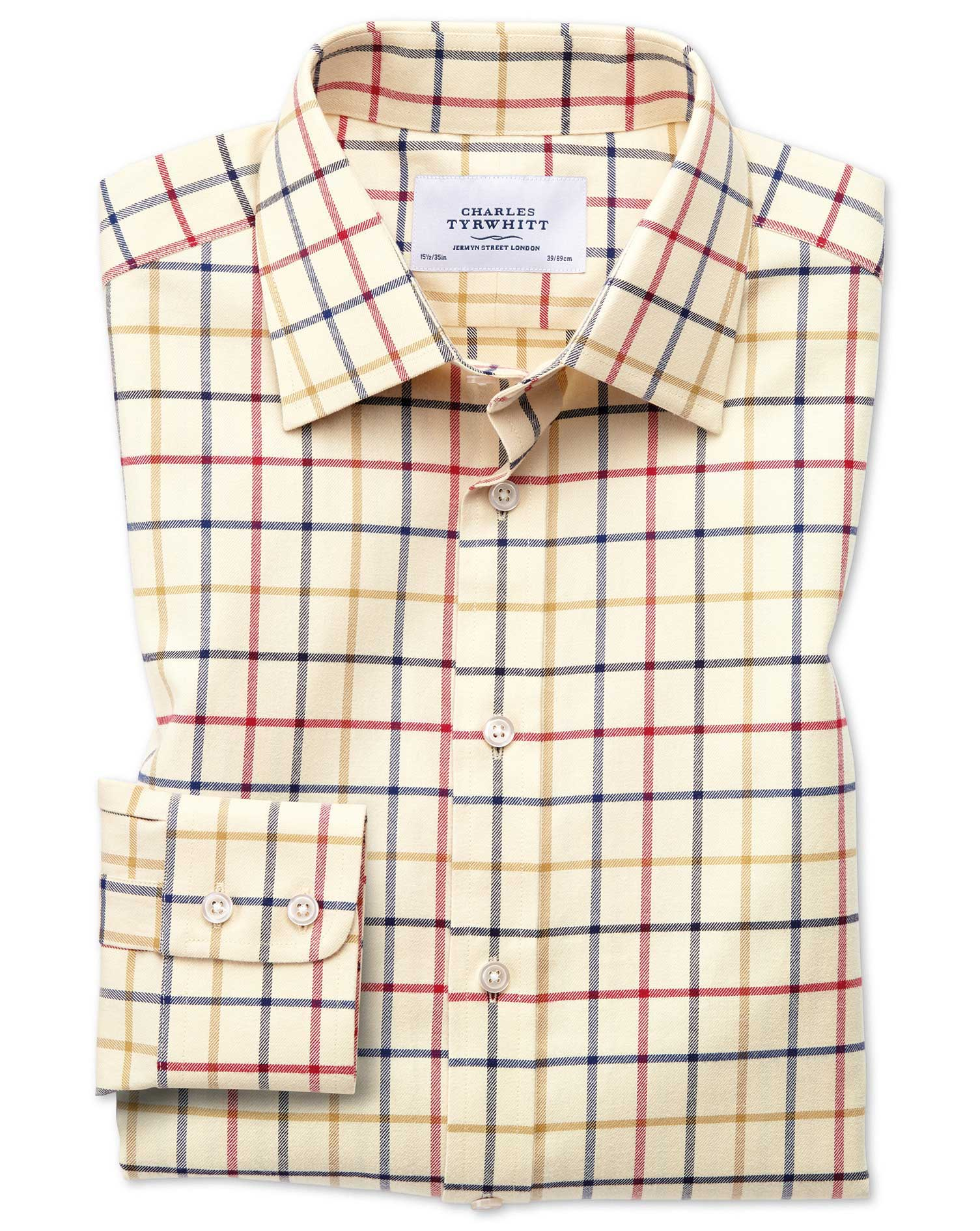 Classic Fit Country Check Red and Blue Cotton Formal Shirt Single Cuff Size 15.5/34 by Charles Tyrwh