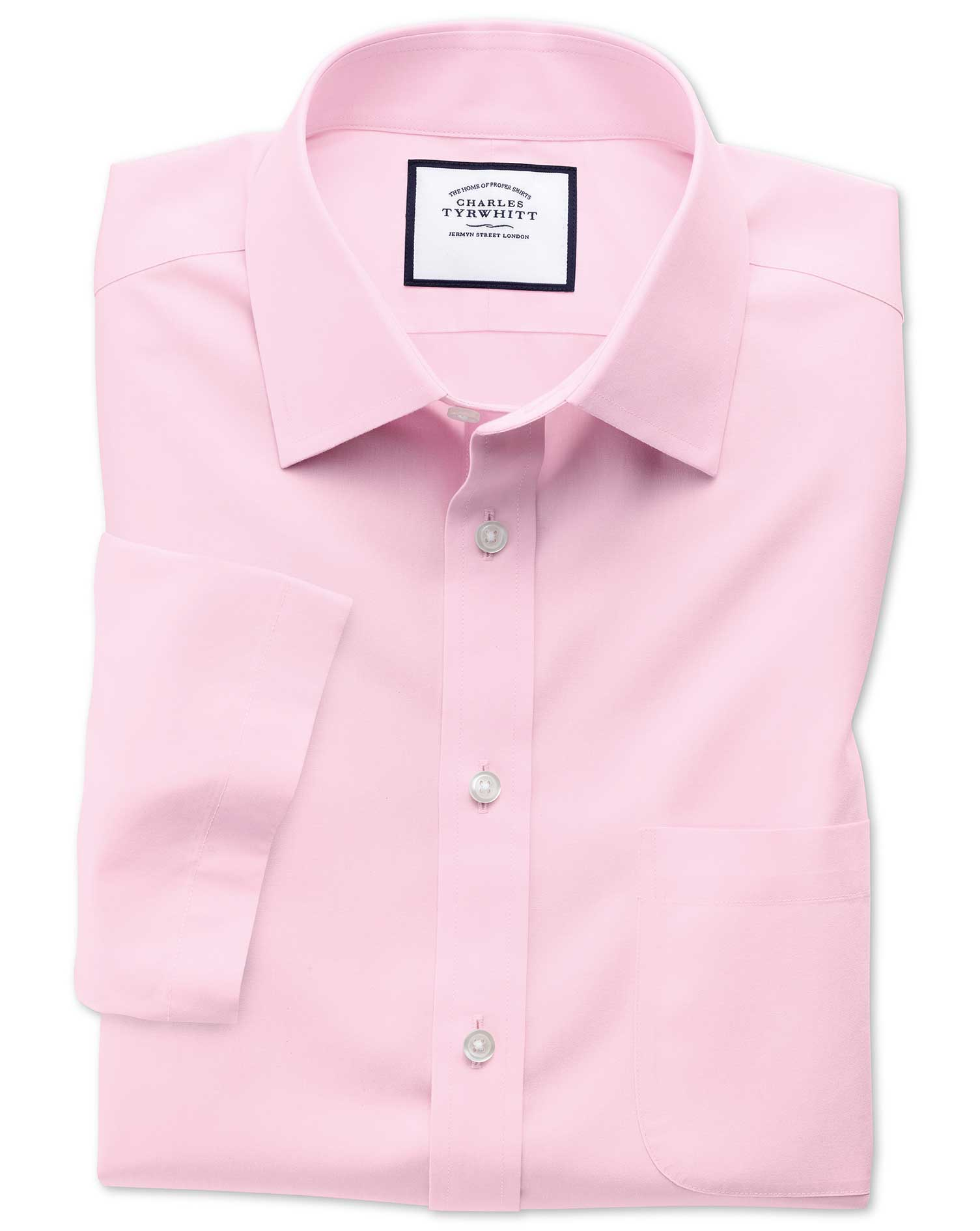 Classic Fit Non-Iron Poplin Short Sleeve Pink Cotton Formal Shirt Size 17/Short by Charles Tyrwhitt