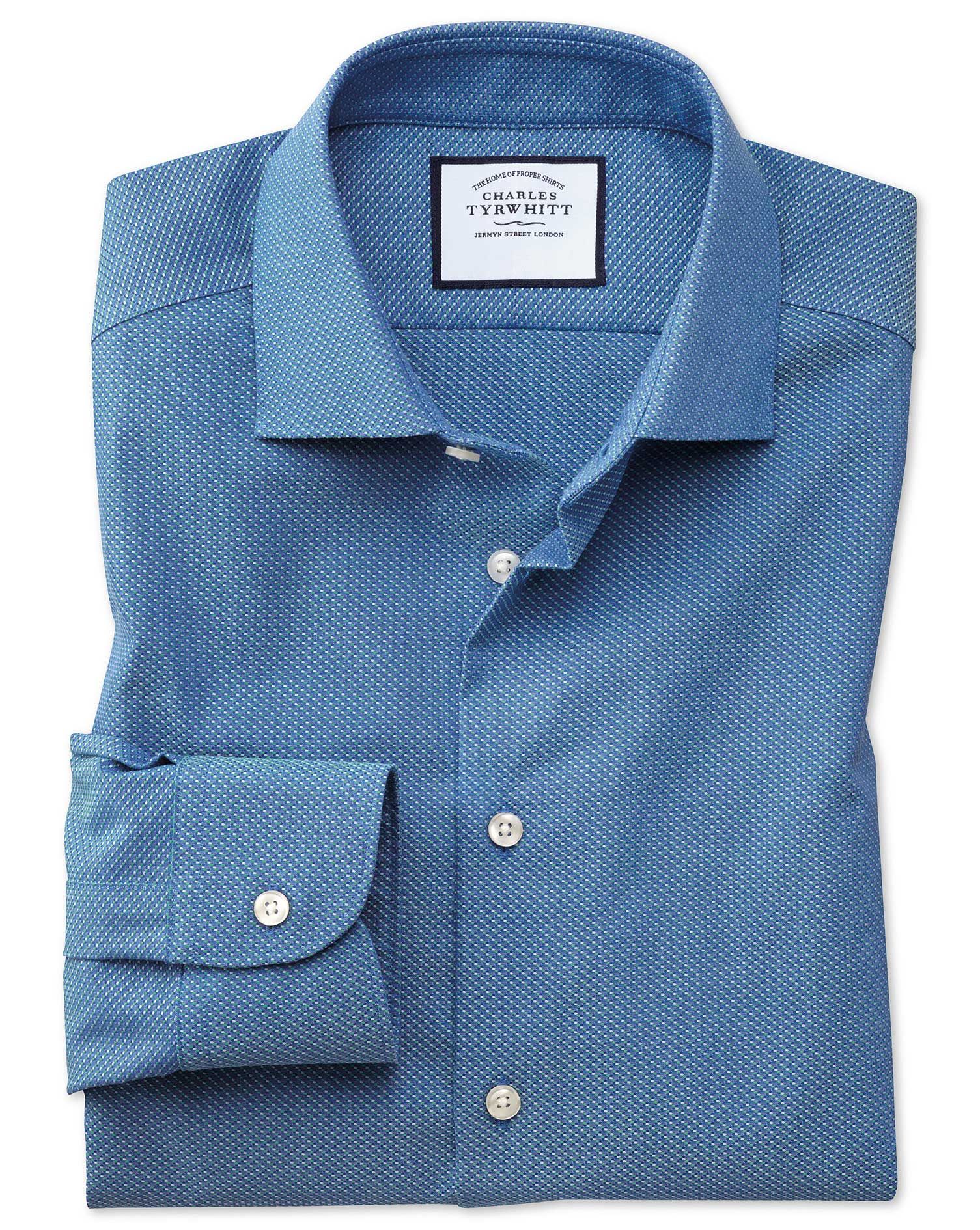 Slim Fit Business Casual Non-Iron Blue and Teal Dash Dobby Cotton Formal Shirt Single Cuff Size 15.5
