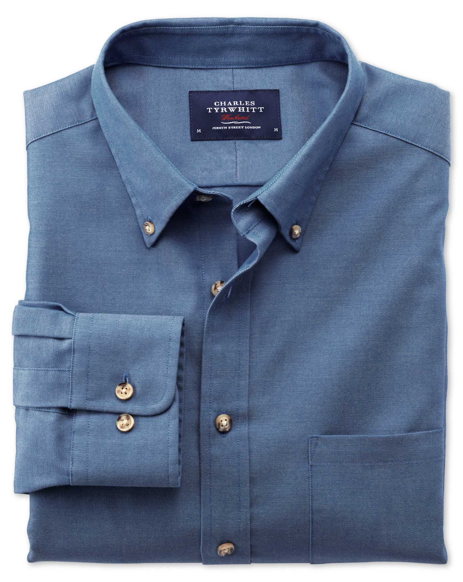 Extra Slim Fit Non-Iron Twill Blue Cotton Shirt Single Cuff Size Medium by Charles Tyrwhitt