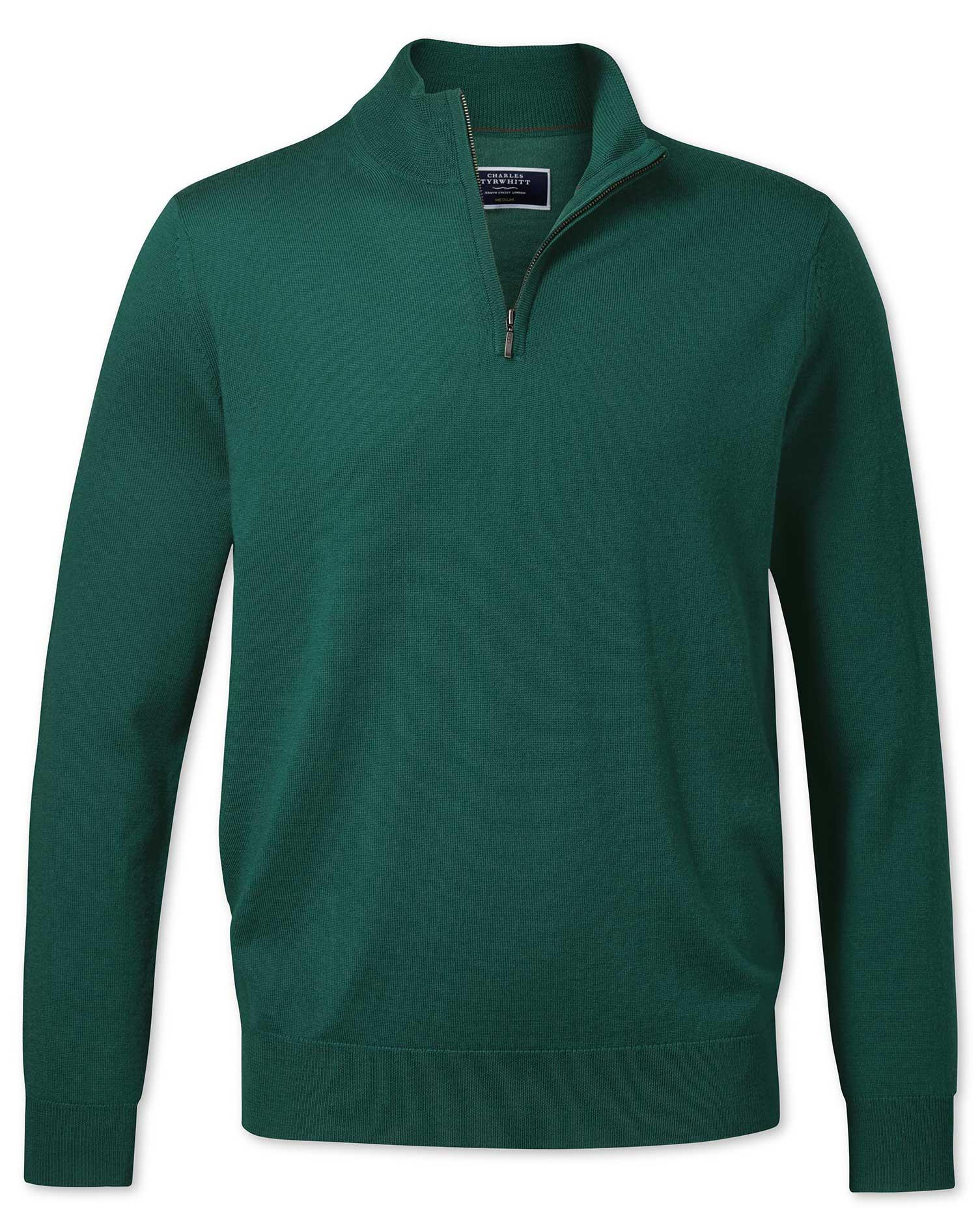 Dark Green Merino Zip Neck Merino Wool Jumper Size XL by Charles Tyrwhitt