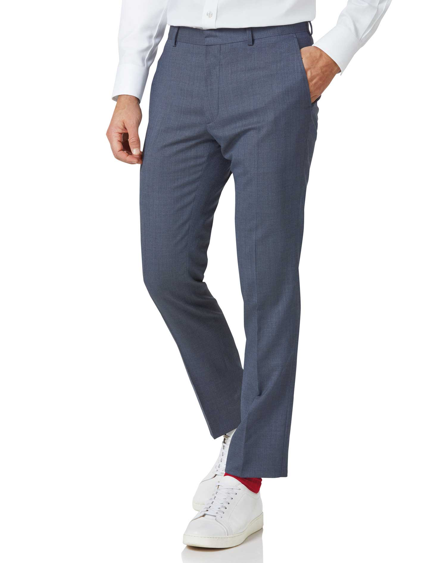 Image of Charles Tyrwhitt Airforce Blue Extra Slim Fit Merino Business Suit Trousers Size W76 L97 by Charles Tyrwhitt