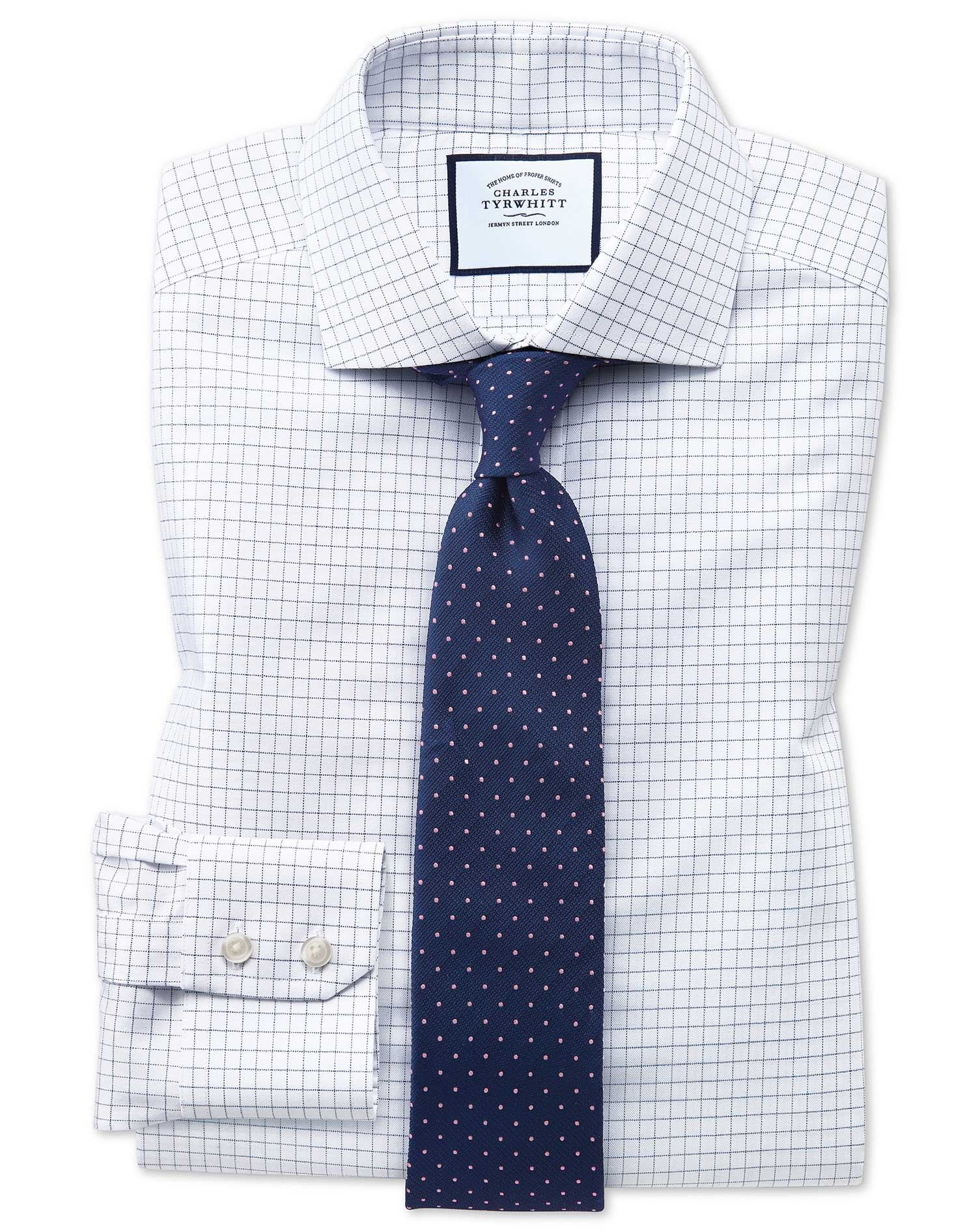 Slim Fit Non-Iron Cutaway Collar Navy Fine Check Cotton Formal Shirt Single Cuff Size 17.5/36 by Cha