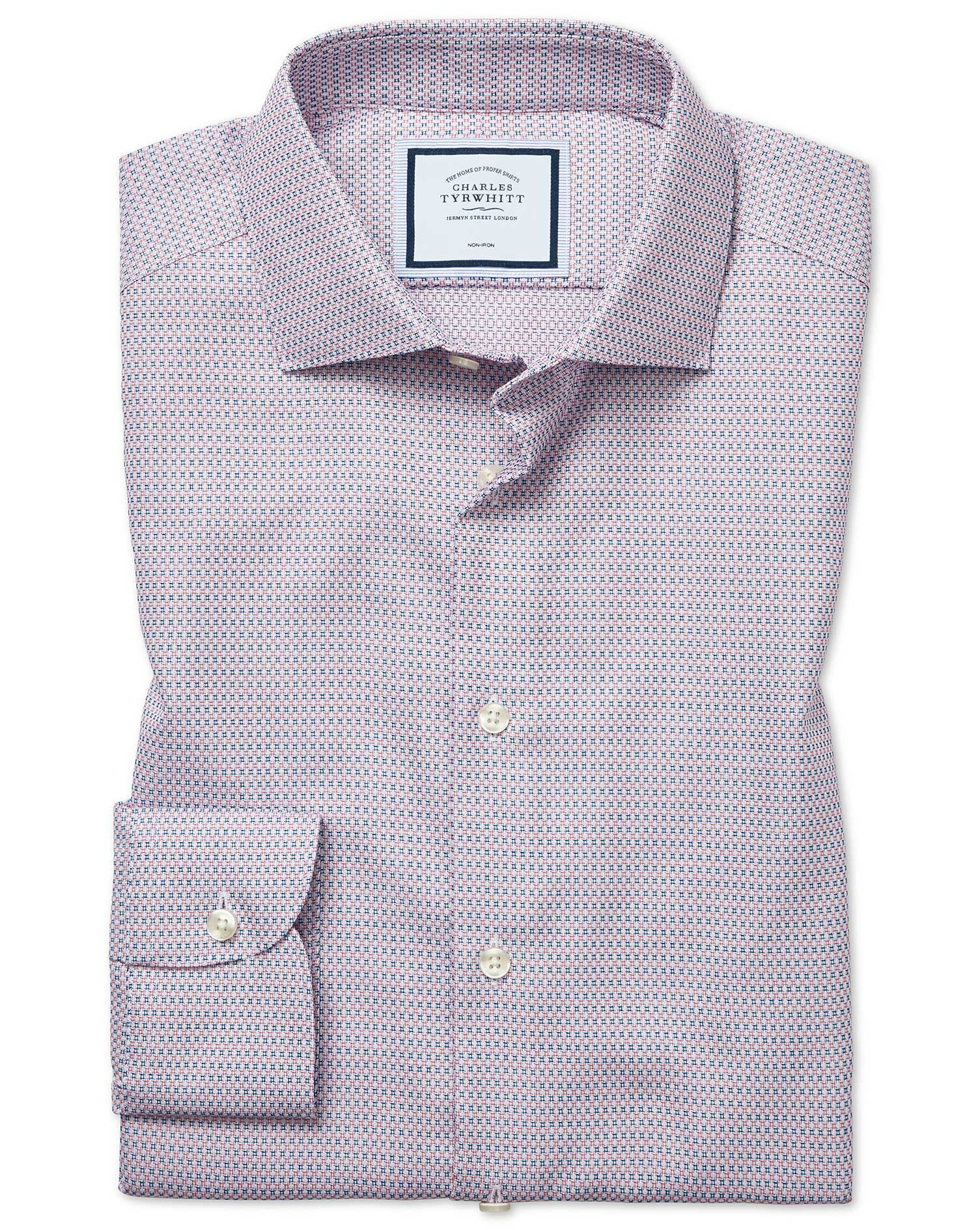 Slim Fit Non-Iron Natural Stretch Textures Pink and Navy Cotton Formal Shirt Single Cuff Size 15.5/3