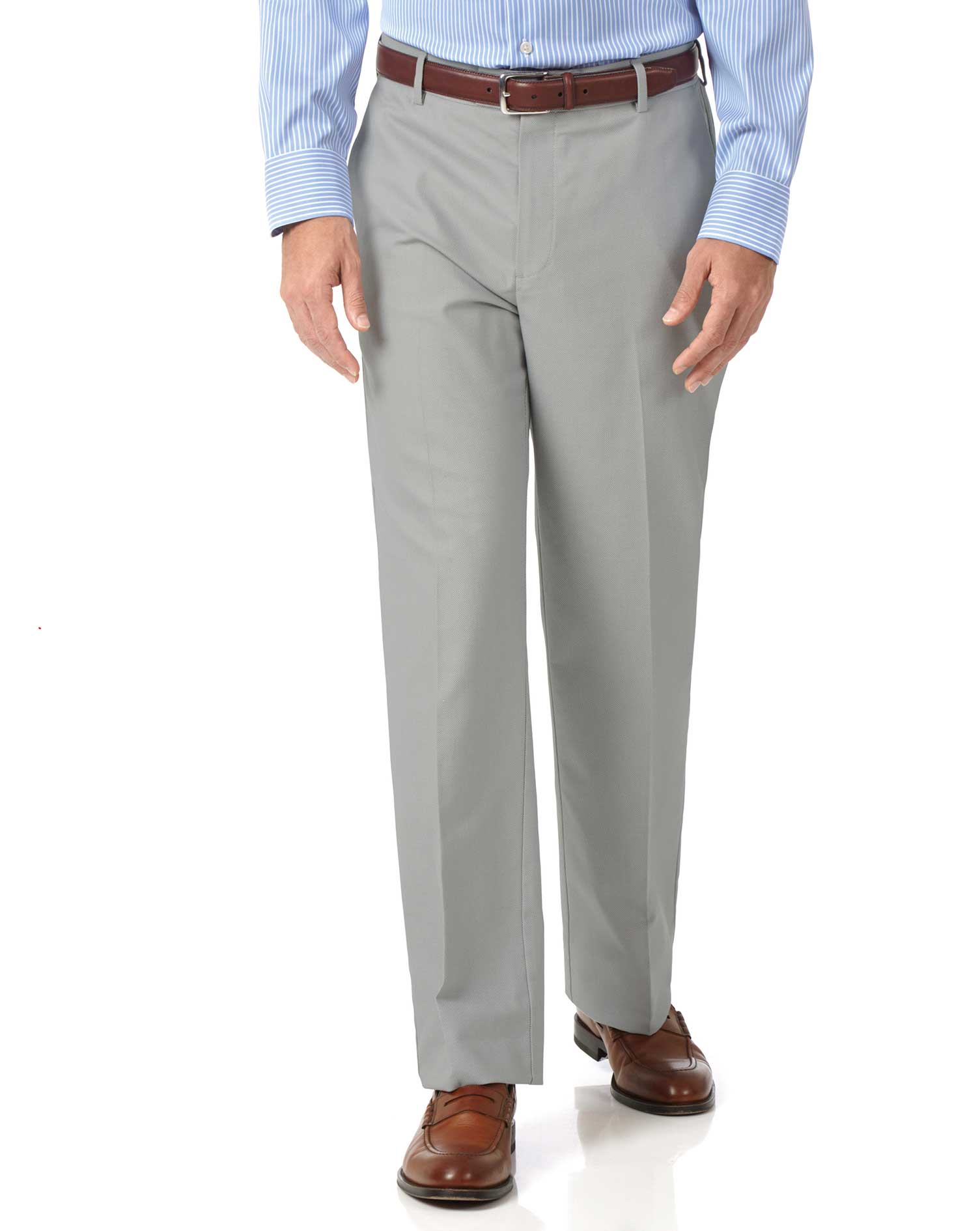 Silver Classic Fit Stretch Non-Iron Trousers Size W32 L34 by Charles Tyrwhitt