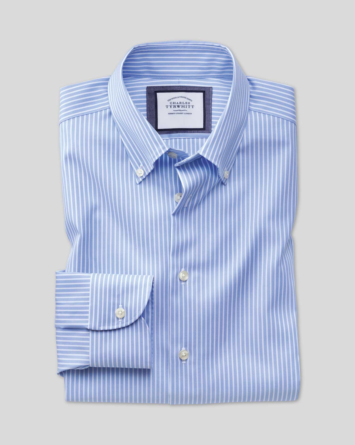 Slim Fit Business Casual Non-Iron Sky Blue and White Stripe Cotton Formal Shirt Single Cuff Size 15.