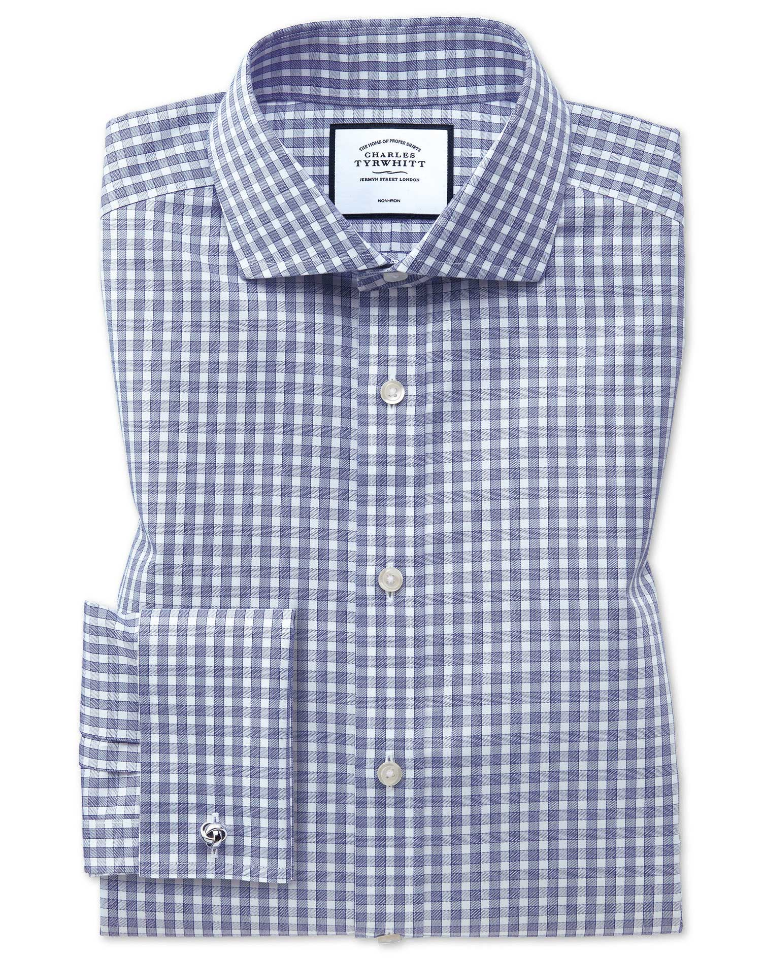 Slim Fit Non-Iron Twill Gingham Blue Cotton Formal Shirt Single Cuff Size 16.5/35 by Charles Tyrwhit