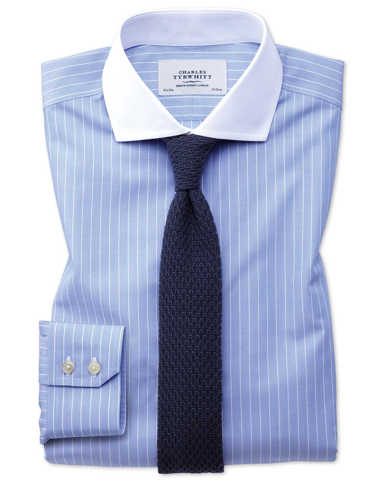 Extra slim fit cutaway non iron winchester blue and white for Extra slim tuxedo shirt